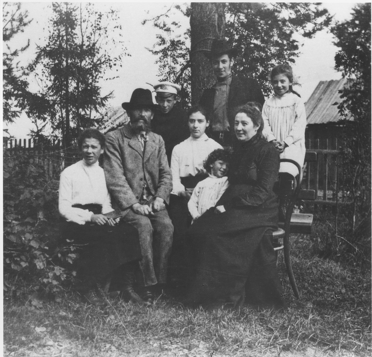 Portrait of the Mikolaevsky family at their dacha in the village of Strelna, a suburb of St. Petersburg.