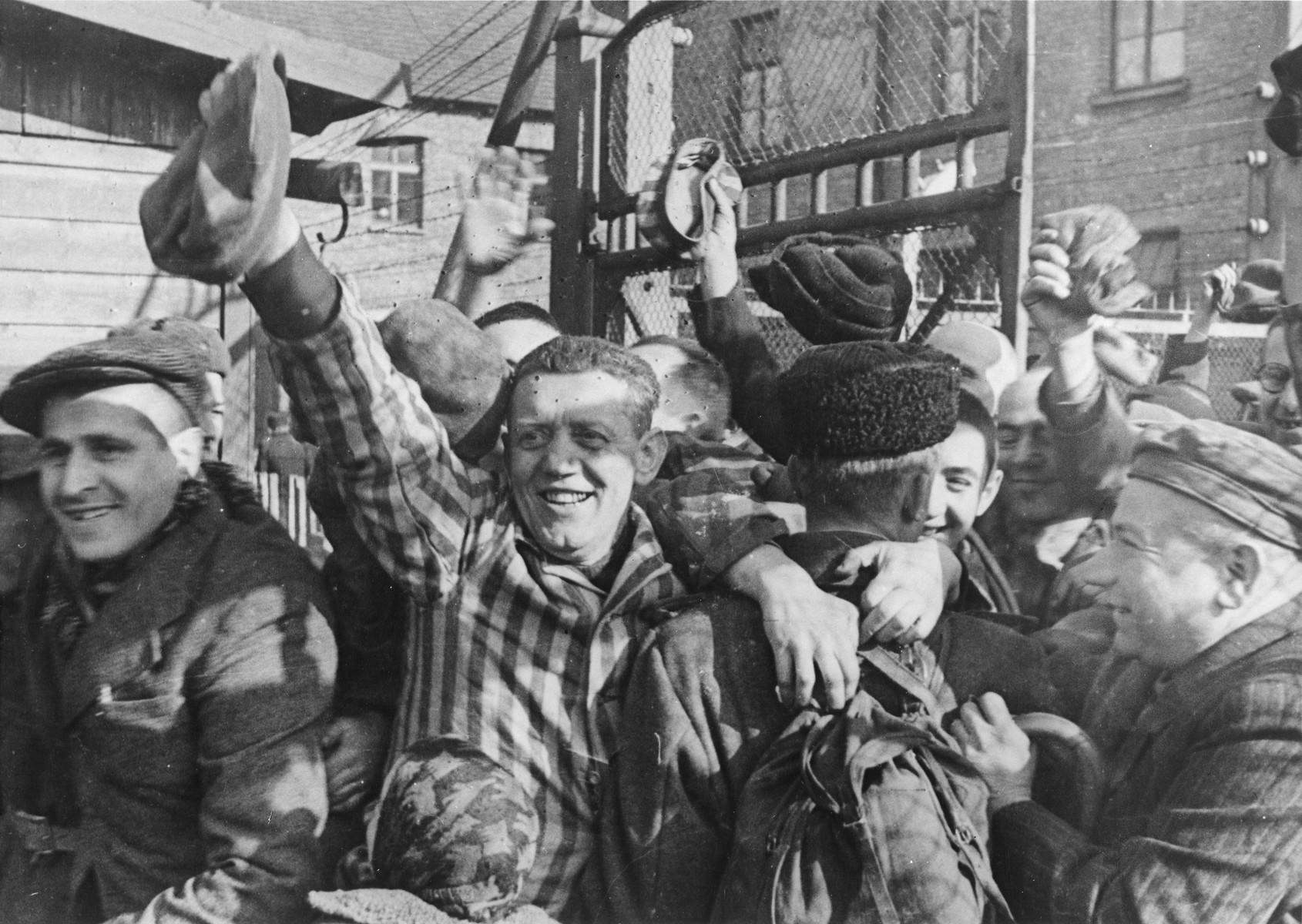 Prisoners of Auschwitz greet their liberators.
