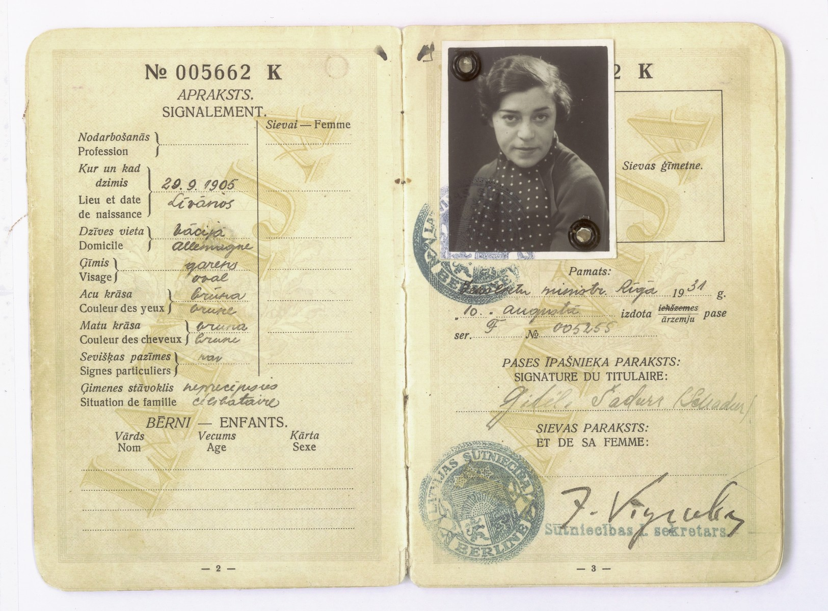 Latvian passport belonging to Gitta Schadur, the donor's aunt, who emigrated to Germany in 1931.