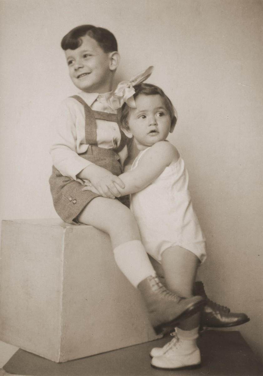 Studio portrait of two Hungarian Jewish children, Otto Friedman (age 5) and Anniko Friedman (age 13 months).  The children are the cousins of donor, Marta Elkana.