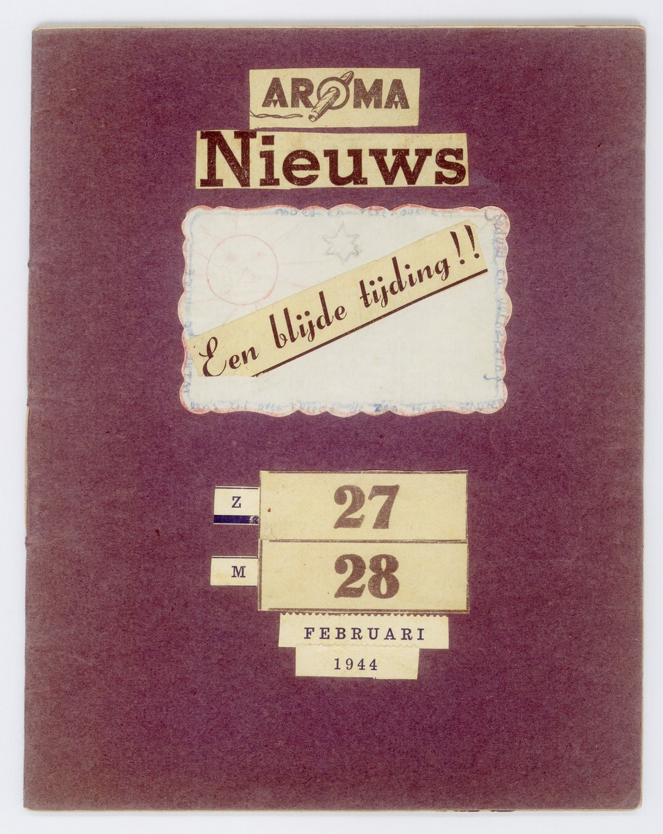Cover page of a notebook of correspondence written by Julius Zion, while he was in hiding, to his brothers Sallie and Zadok, who were hiding together in another location.  Julius sent the notebook in honor of his brothers' birthdays.  It was messengered to them by members of the Dutch Reformed Church underground
