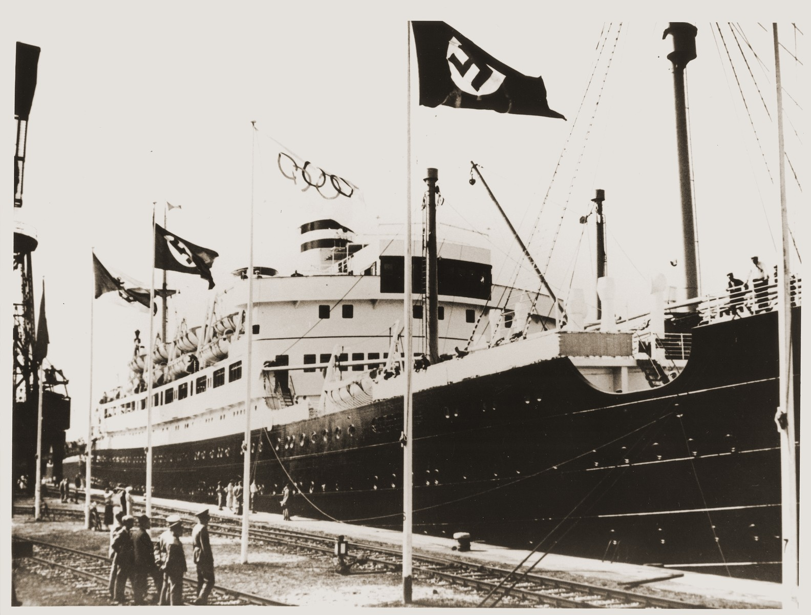 The U.S. motorship St. Louis, docked in Hamburg before the 11th Summer Olympic Games.
