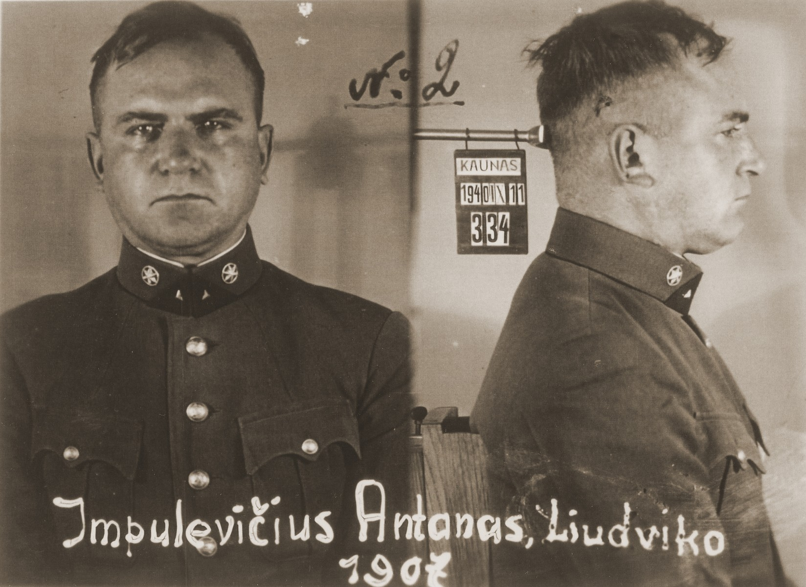 Mug shot of Antanas Impulevicius, taken after his arrest by the NKVD in Kovno for his involvement with the Lithuanian militia.