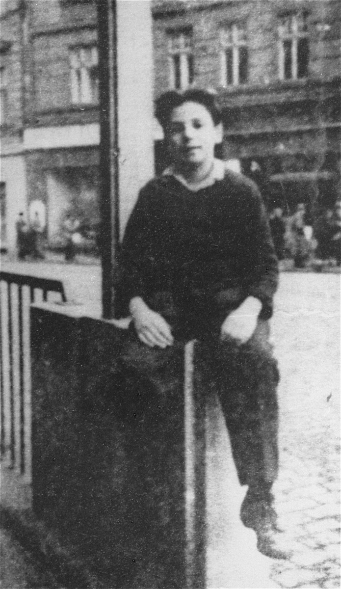 Portrait of Nachman Aaron Elster, a 12-year-old Jewish boy, who spent two years in hiding after escaping from the Sokolow Podlaski ghetto.