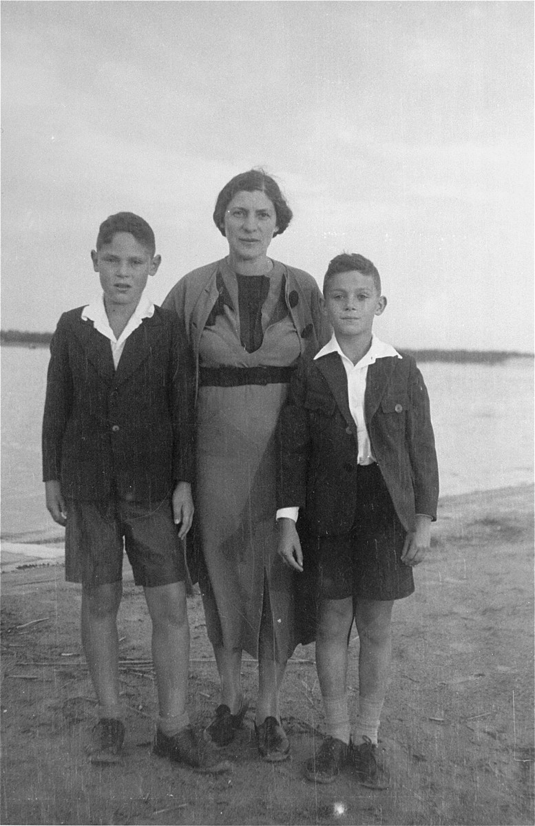 Debora Nurock poses with her two sons, Zwi Baruch and Eli in Riga.