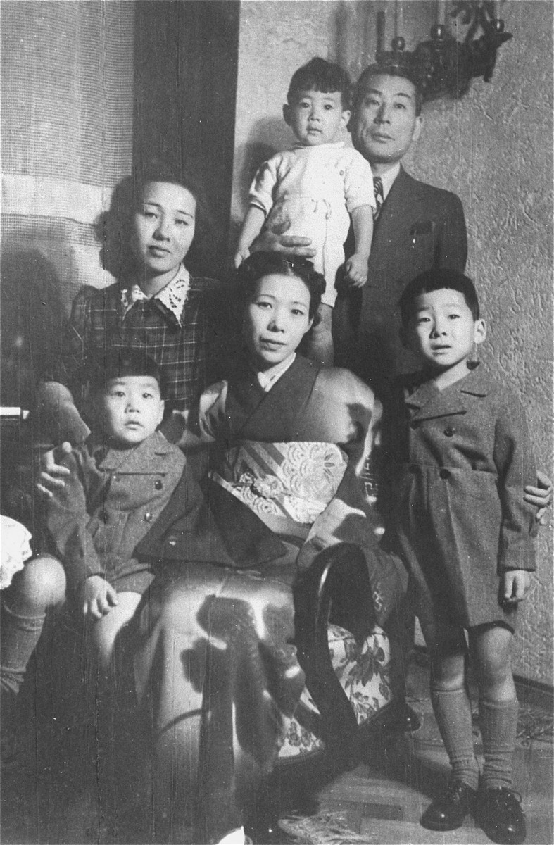 Chiune Sugihara poses with his family in Bucharest.  This photo was taken as part of a series by the Romanian press.