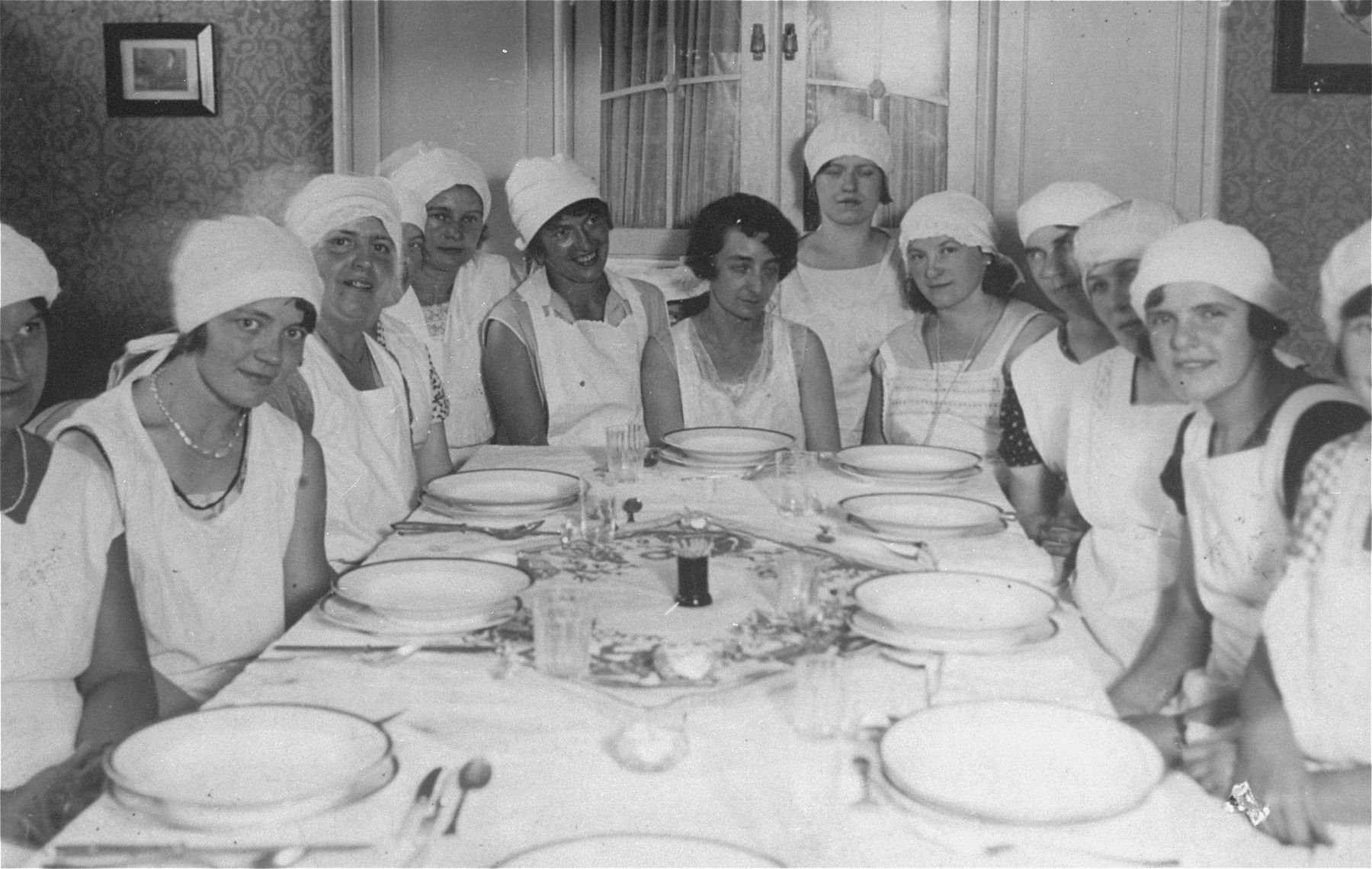 Group portrait of Jewish women in a cooking school in Vienna.    Among those pictured are members of the Fiedler and Goldstaub families.