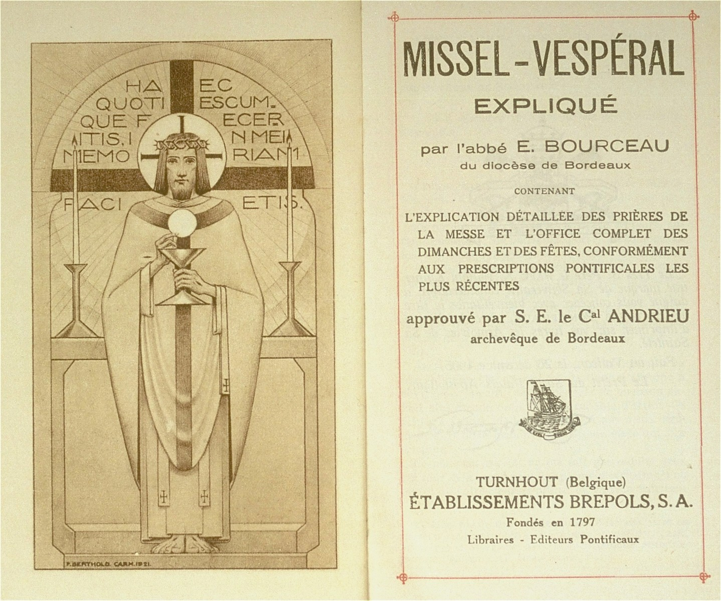 Title page of a Catholic prayerbook given to the donor, Sara Lamhaut, a Belgian-Jewish child in hiding at the Soeurs de Sainte Marie convent school in Wezembeek-Oppem near Brussels, on the occasion of her First Communion.