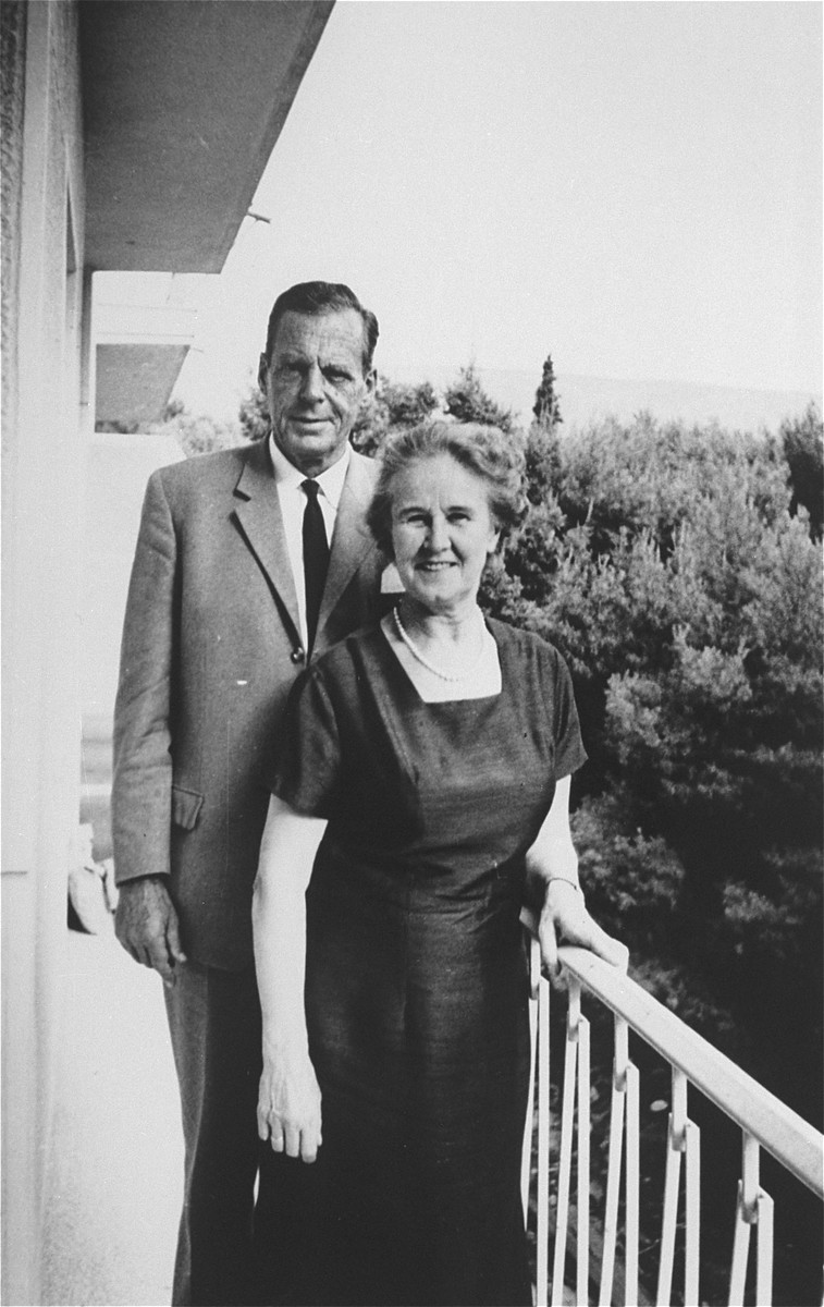 Jan Zwartendijk and his wife Erma at their home in Rotterdam.  Jan Zwartendijk (1896-1976) arrived in Kovno in 1938 as the Dutch representative of Philips Electric in Lithuania.  Soon after the fall of Holland to Hitler's forces on 10 May 1940, however, Zwartendijk was named the honorary Dutch consul by ambassador LPJ de Decker in Riga, Latvia, who sacked the official consul for having pro-Nazi sentiments.  This change came at roughly the same time as the Soviet occupation of Lithuania in June 1940.  Zwartendijk was then approached in the third week of July 1940 by Nathan Gutwirth, a Dutch national and young yeshiva student in Tels, Lithuania, who he had come to know through their common interest in soccer. Gutwirth requested a transit visa to Curacao, which Zwartendijk was denied permission to give.  Zwartendijk then appealed to de Decker for help and the ambassador sent him a document stating that no visa was necessary for travel to Curacao, and that landing was permitted solely at the discretion of the island's governor.  De Decker suggested that Zwartendijk simply strike out the part about the governor's authority and write into Gutwirth's passport an official statement that he was travelling to Curacao.  Zwartendijk followed this course and within hours Gutwirth had spread word about the 'pseudo visas' among the thousands of Polish-Jewish refugees in Kovno, who subsequently flooded Zwartendijk's office seeking 'Curacao visas'.  These 'visas' were then used by refugees to procure Japanese transit visas from Sugihara through the USSR.  It is estimated that by the time the Dutch consulate was closed at the beginning of August 1940, Zwartendijk had written between 1200 and 1400 life saving 'visas'.