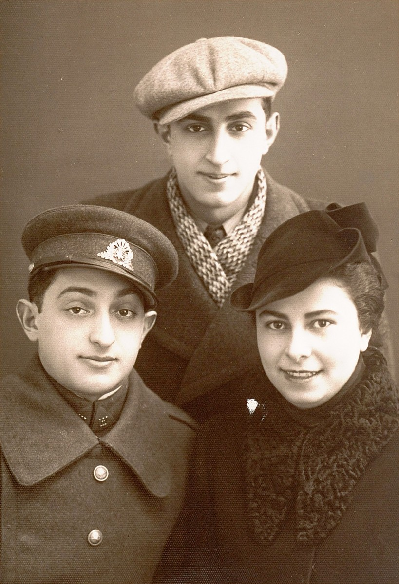 Portrait of the donor's uncles and aunt. Pictured above is Shmuel Kaplan; below are Moshe and Nehama Kaplan.