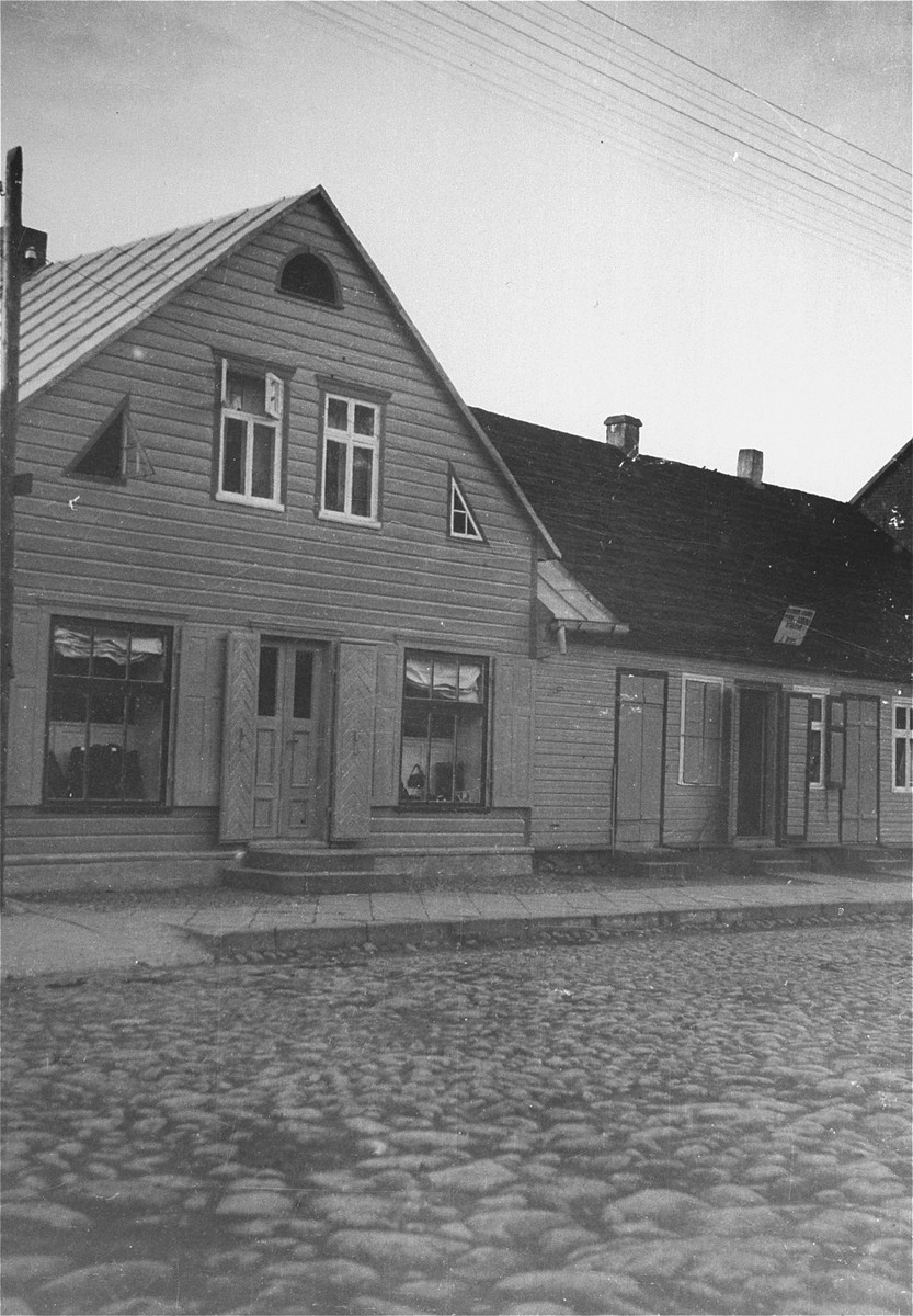 View of the store belonging to the grandmother of the donor in Gargzdai, Lithuania.