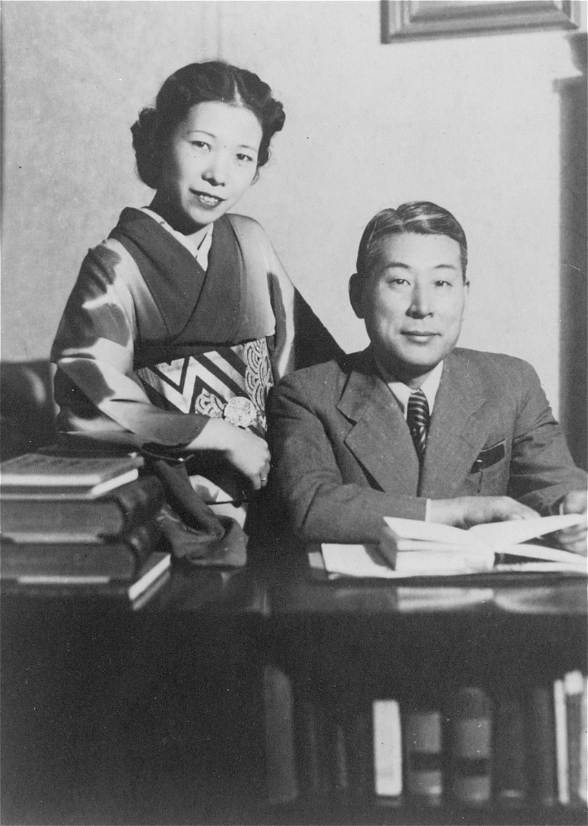 Chiune Sugihara with his wife Yukiko in his office at the Japanese consulate in Bucharest.    This photo was taken as part of a series for the Romanian press.