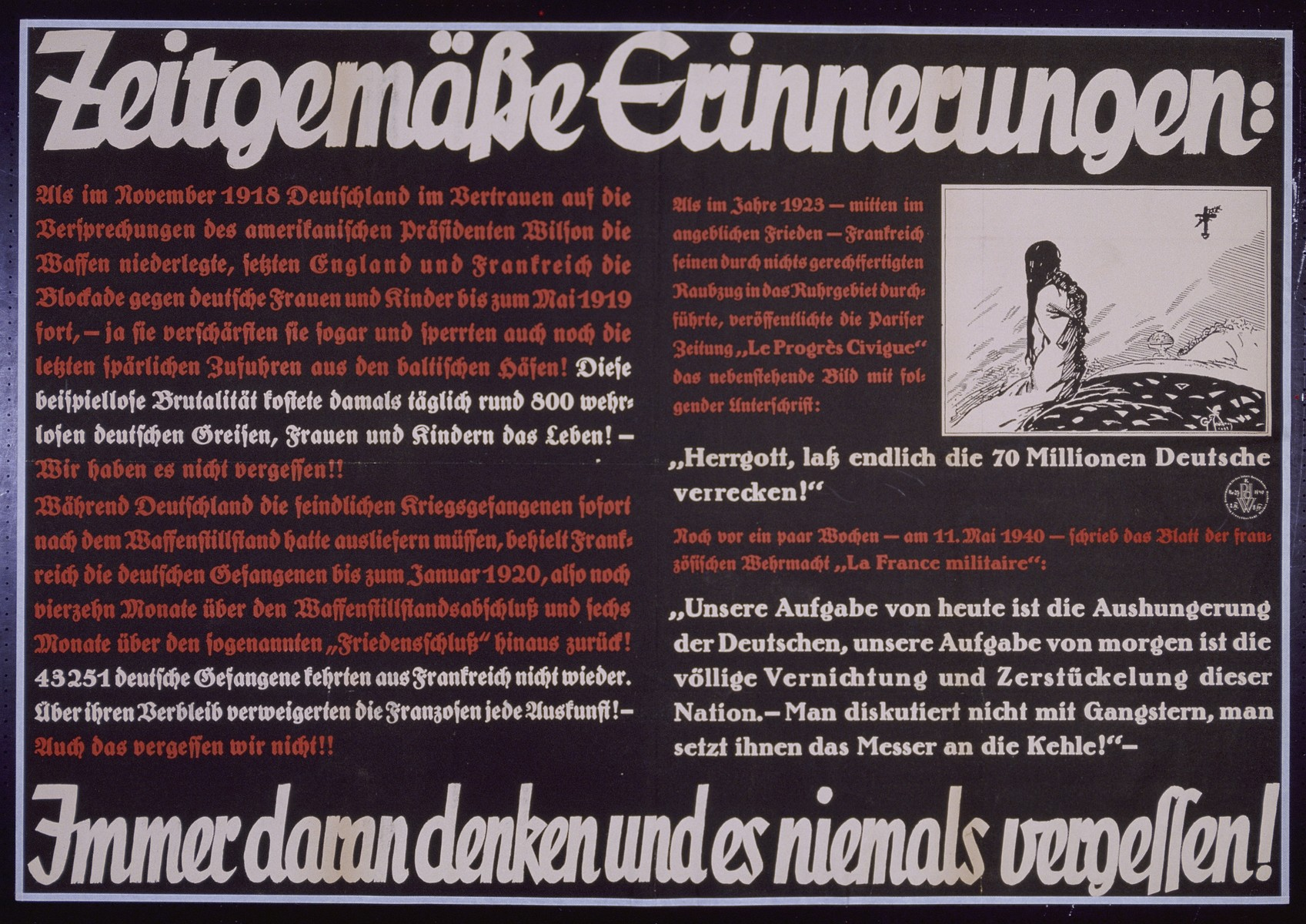 "Nazi propaganda poster entitled, ""Zeitgemabe Erinnerungen,""  issued by the ""Parole der Woche,"" a wall newspaper (Wandzeitung) published by the National Socialist Party propaganda office in Munich."