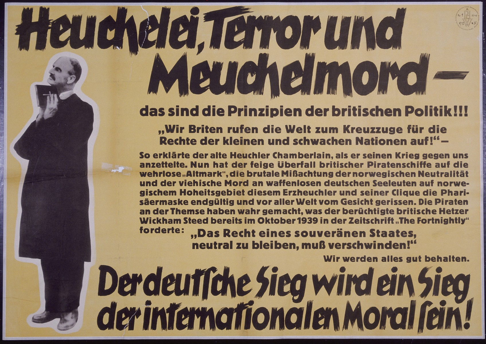 "Nazi propaganda poster entitled, ""Heuchelei, Terror und Meuchelmord,"" issued by the ""Parole der Woche,"" a wall newspaper (Wandzeitung) published by the National Socialist Party propaganda office in Munich."