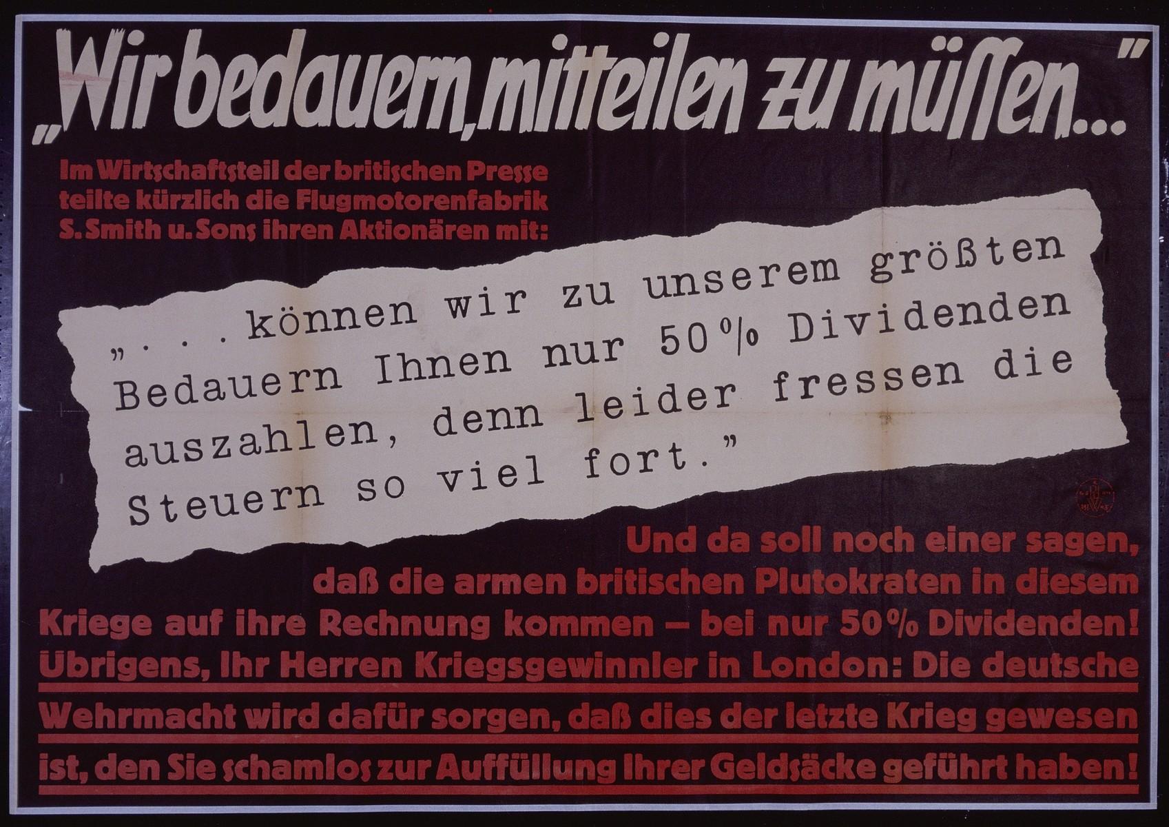 "Nazi propaganda poster entitled, ""Wir bedauern, mitteilen zu mussen,"" issued by the ""Parole der Woche,"" a wall newspaper (Wandzeitung) published by the National Socialist Party propaganda office in Munich."
