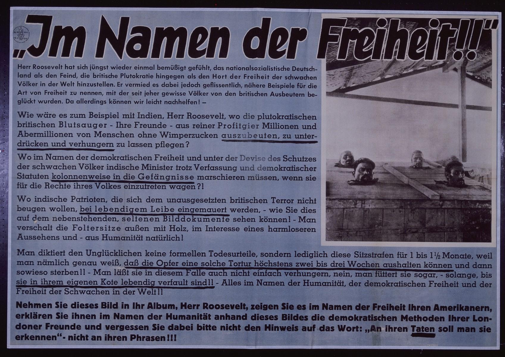 "Nazi propaganda poster entitled, ""Im Namen der Freiheit,"" issued by the ""Parole der Woche,"" a wall newspaper (Wandzeitung) published by the National Socialist Party propaganda office in Munich."