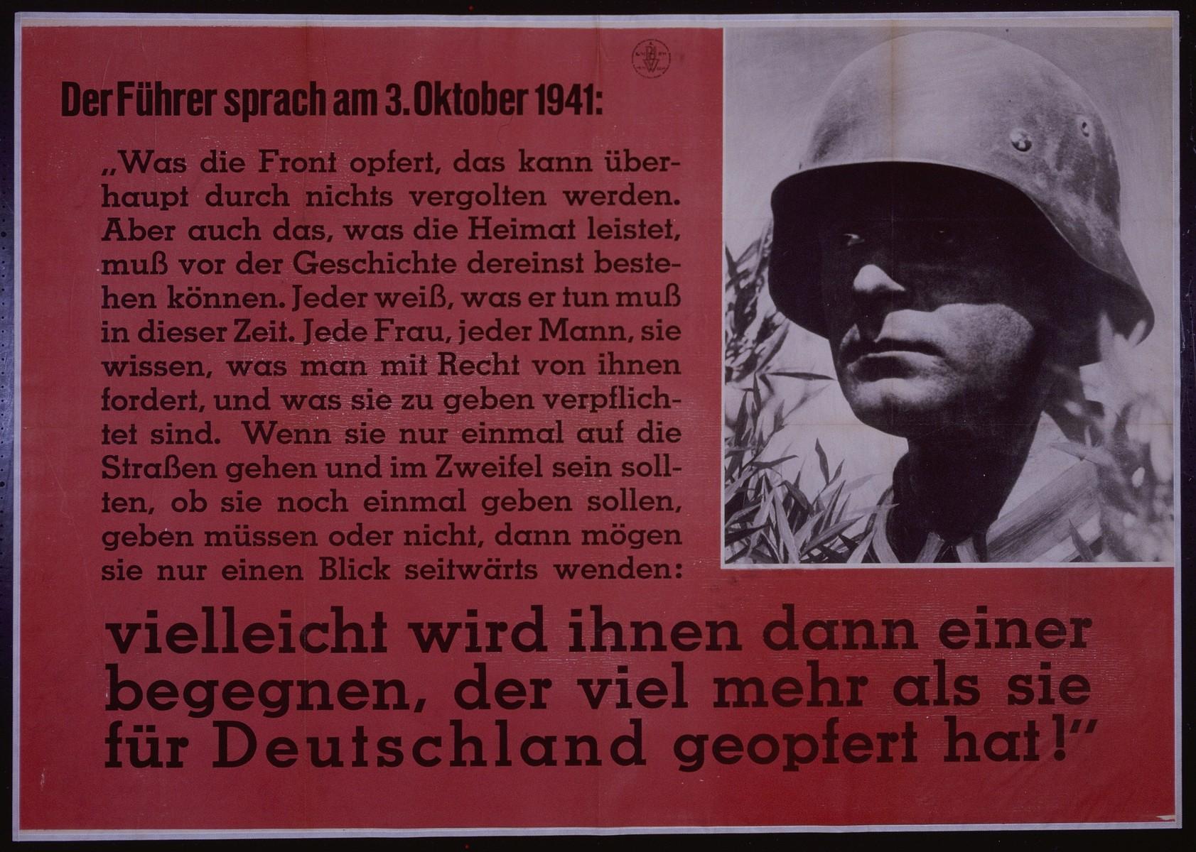 "Nazi propaganda poster entitled, ""Der Fuhrer sprach am 3. Oktober 1941..."" issued by the ""Parole der Woche,"" a wall newspaper (Wandzeitung) published by the National Socialist Party propaganda office in Munich."