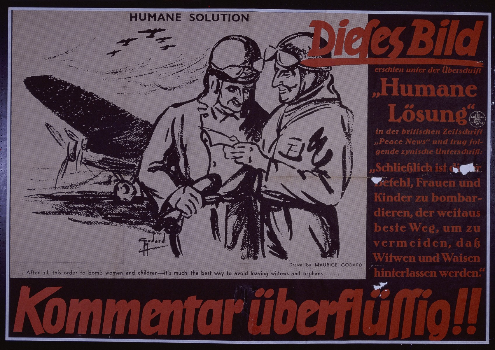 "Nazi propaganda poster entitled, ""Dieses Bild - Kommentar uberflussig,"" issued by the ""Parole der Woche,"" a wall newspaper (Wandzeitung) published by the National Socialist Party propaganda office in Munich."
