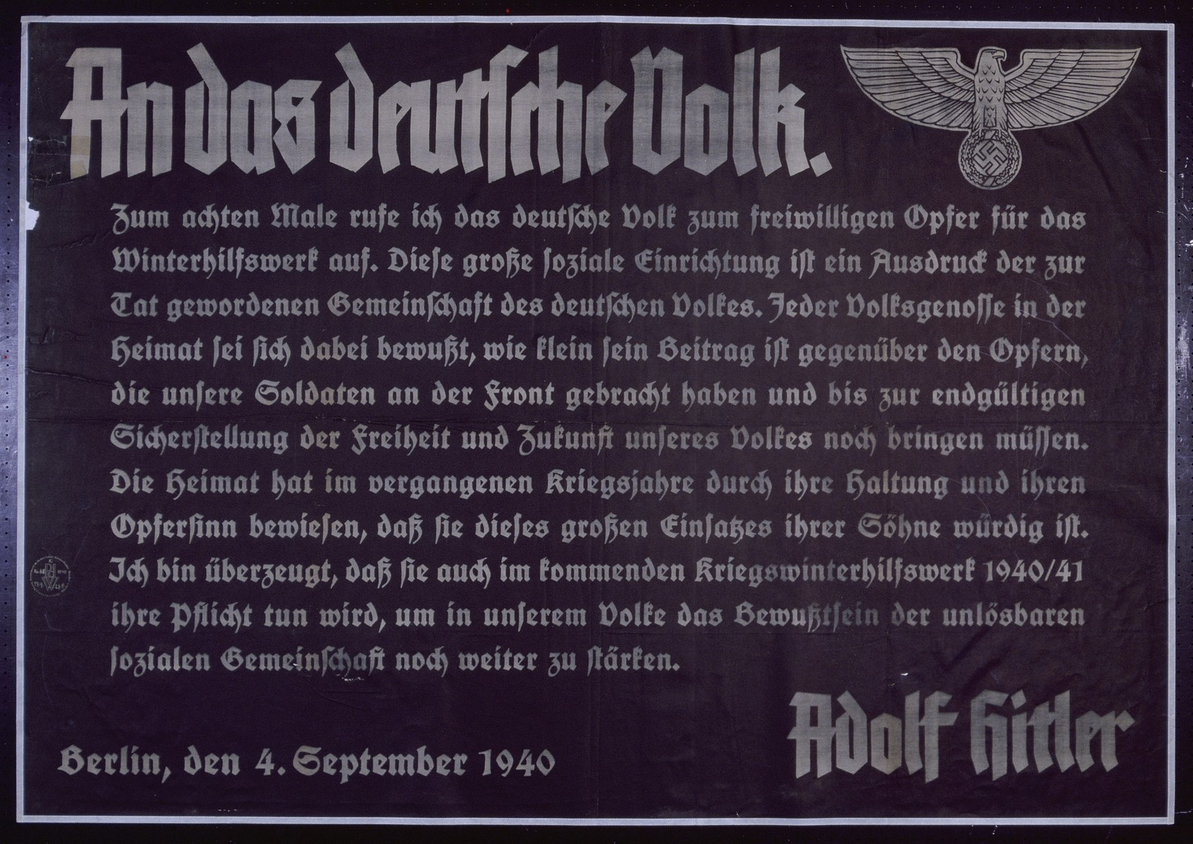 "Nazi propaganda poster entitled, ""An das deutsche Volk,""  issued by the ""Parole der Woche,"" a wall newspaper (Wandzeitung) published by the National Socialist Party propaganda office in Munich."