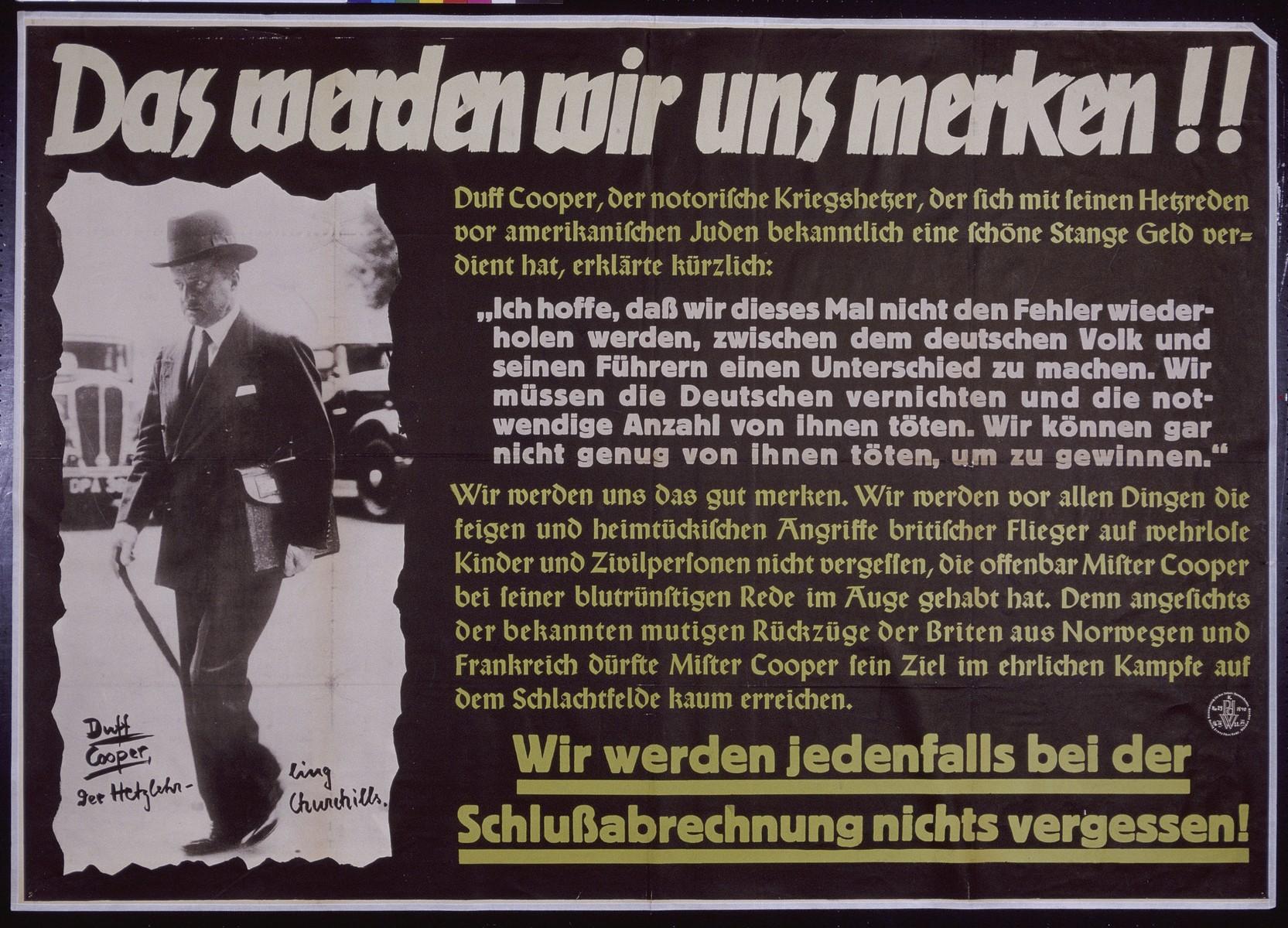 "Nazi propaganda poster entitled, ""Das werden wir uns merken,"" issued by the ""Parole der Woche,"" a wall newspaper (Wandzeitung) published by the National Socialist Party propaganda office in Munich."