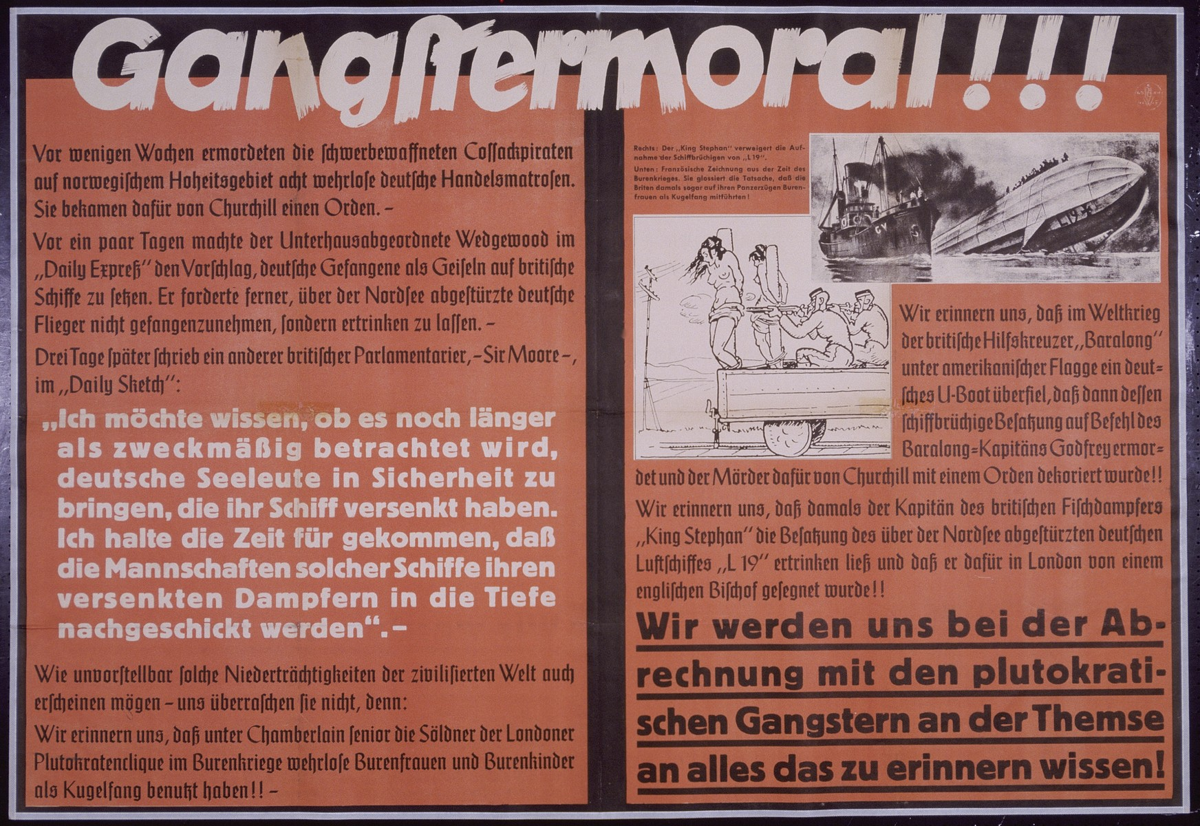 "Nazi propaganda poster entitled, ""Gangstermoral!"", issued by the ""Parole der Woche,"" a wall newspaper (Wandzeitung) published by the National Socialist Party propaganda office in Munich."