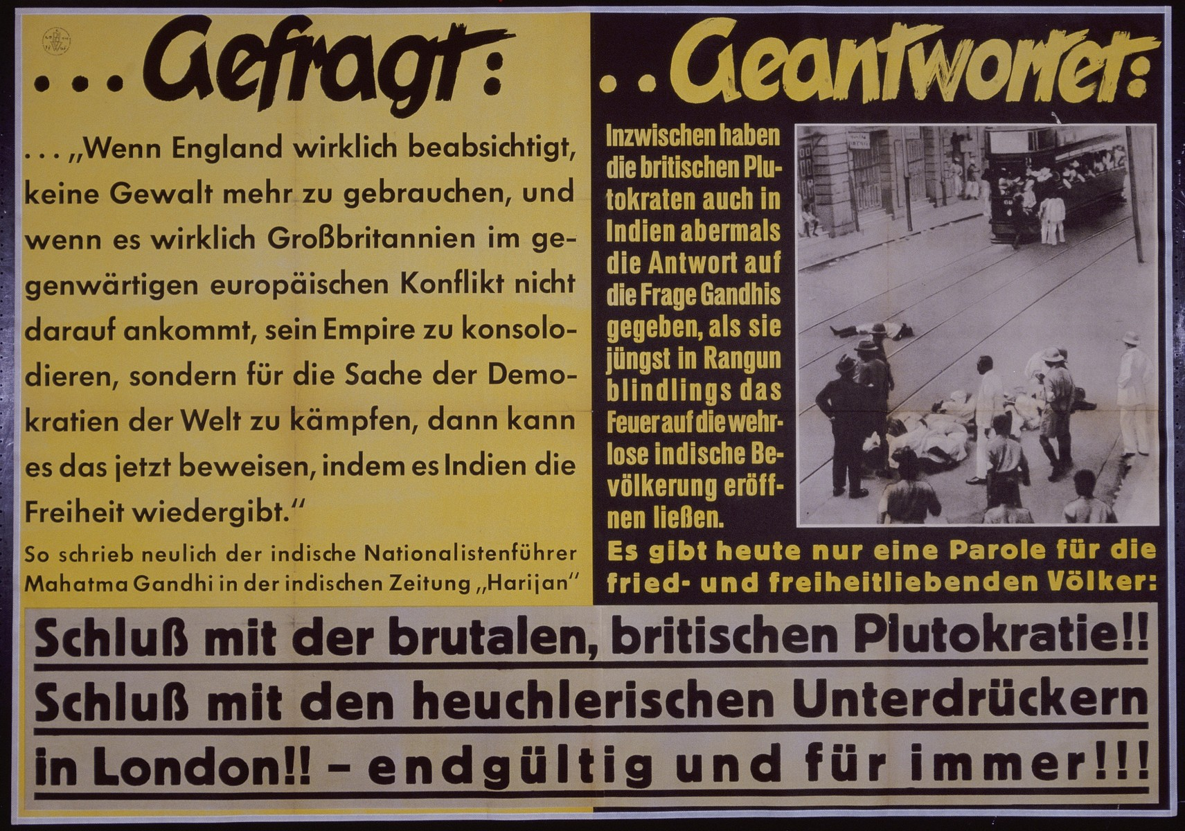 """Nazi propaganda poster entitled, """"...Gefragt...Geantwortet,"""" issued by the """"Parole der Woche,"""" a wall newspaper (Wandzeitung) published by the National Socialist Party propaganda office in Munich."""