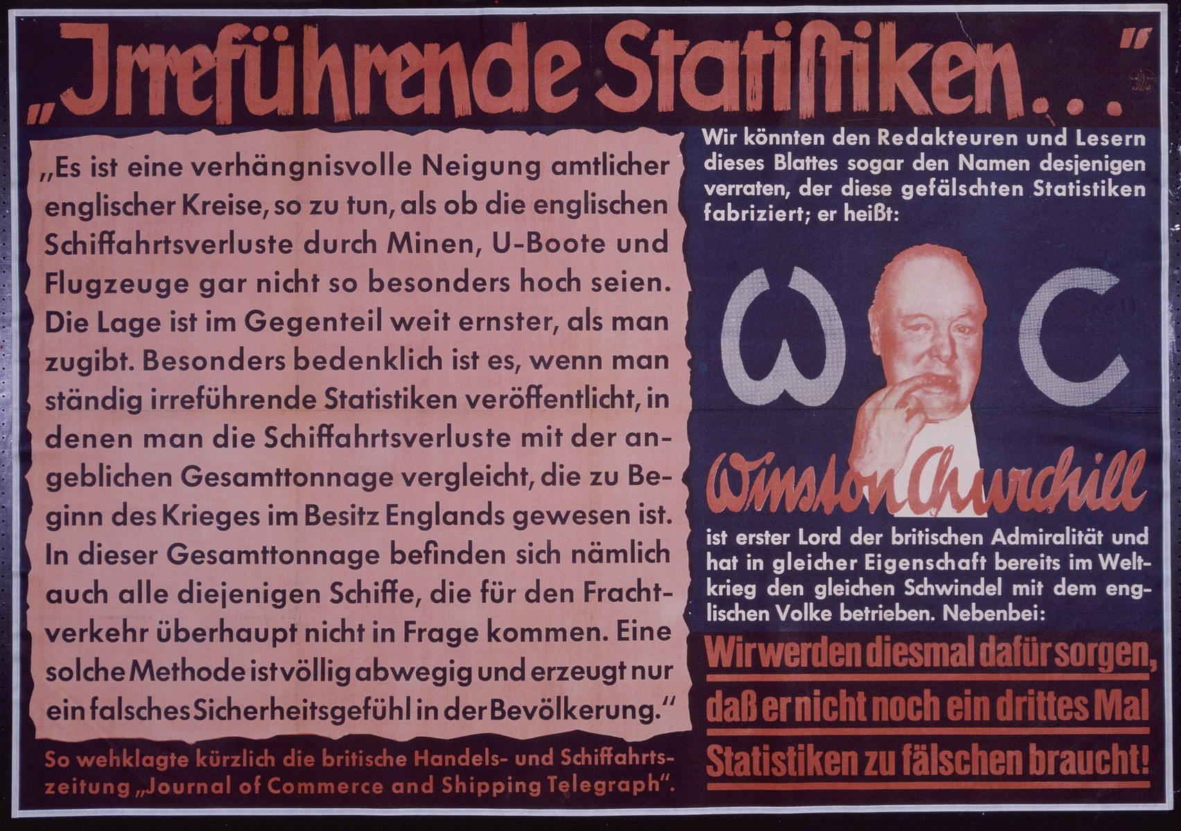 "Nazi propaganda poster entitled, ""Irrefuhrende Statistiken,"" issued by the ""Parole der Woche,"" a wall newspaper (Wandzeitung) published by the National Socialist Party propaganda office in Munich."