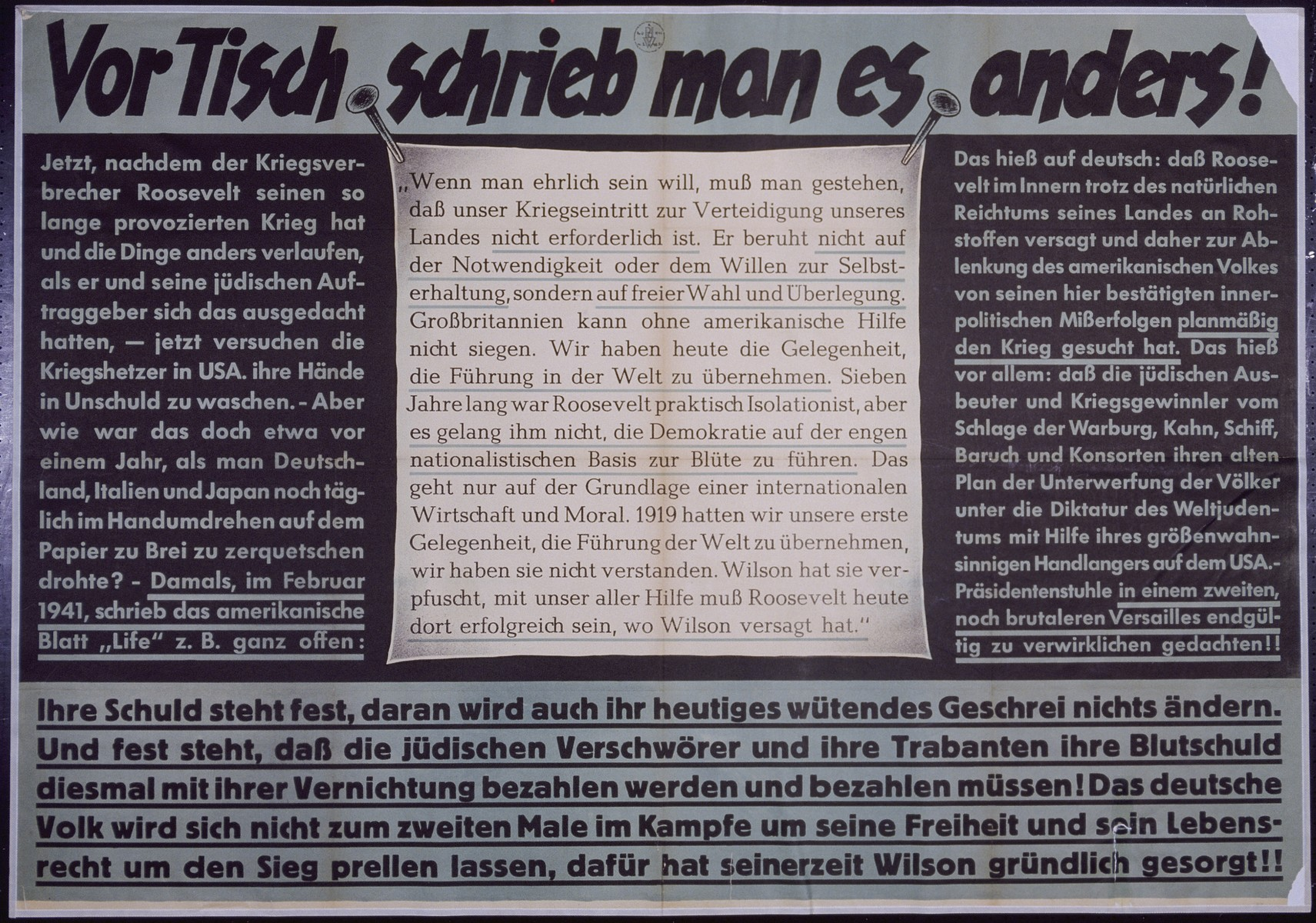 """Nazi propaganda poster entitled, """"Vor Tisch schrieb man es anders,""""  issued by the """"Parole der Woche,"""" a wall newspaper (Wandzeitung) published by the National Socialist Party propaganda office in Munich."""