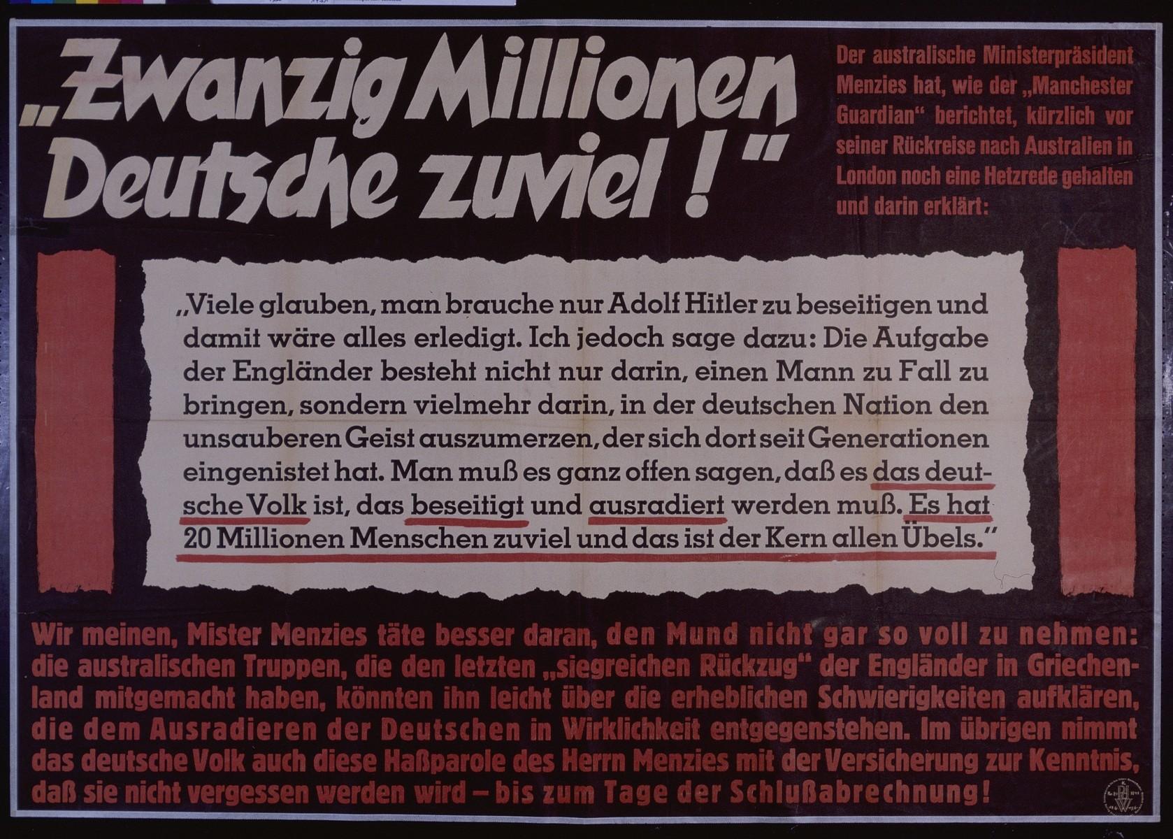 "Nazi propaganda poster entitled, ""Zwanzig Millionen Deutsche zuviel!"" issued by the ""Parole der Woche,"" a wall newspaper (Wandzeitung) published by the National Socialist Party propaganda office in Munich."