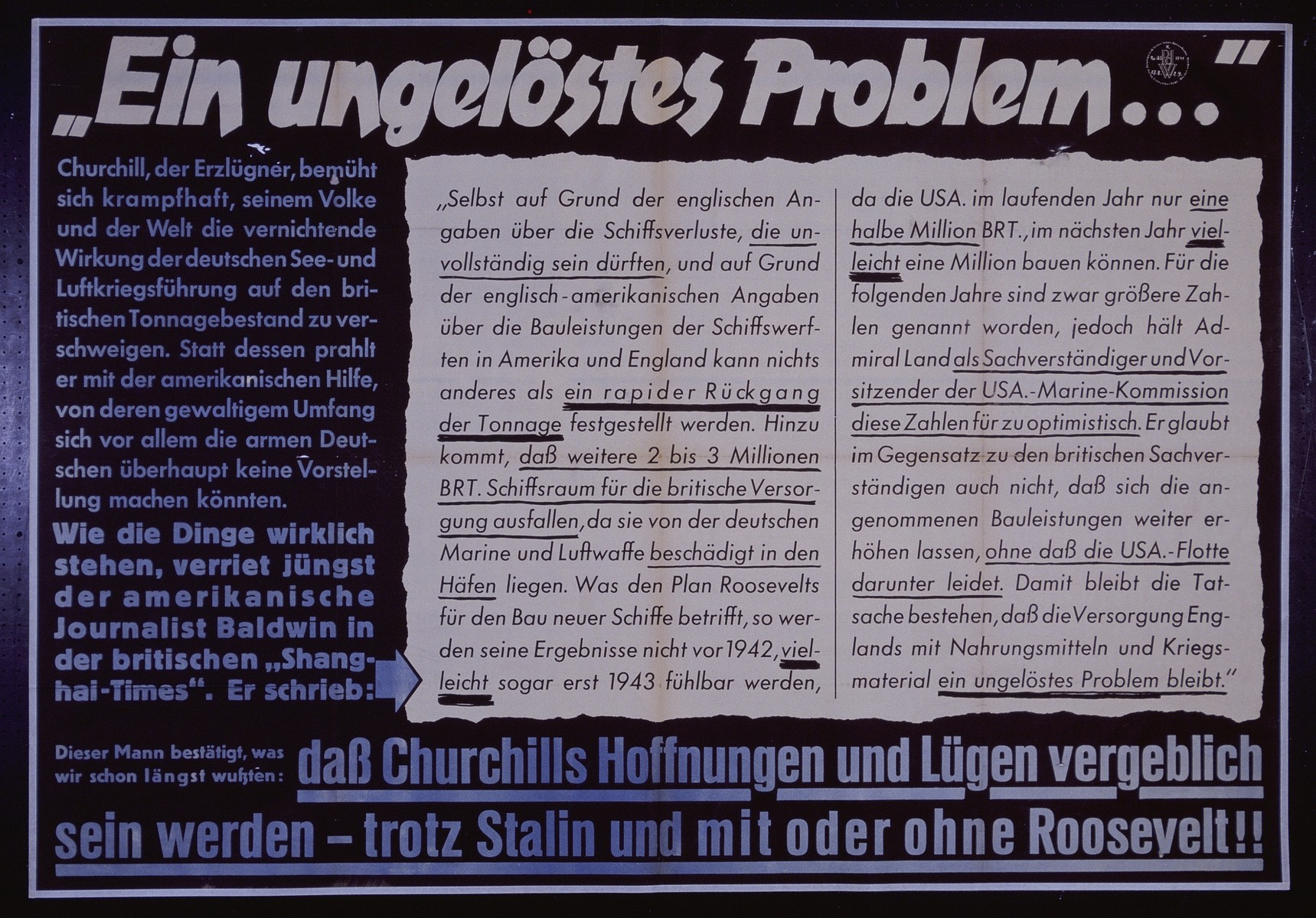"Nazi propaganda poster entitled, ""En ungelostes Problem,"" issued by the ""Parole der Woche,"" a wall newspaper (Wandzeitung) published by the National Socialist Party propaganda office in Munich."