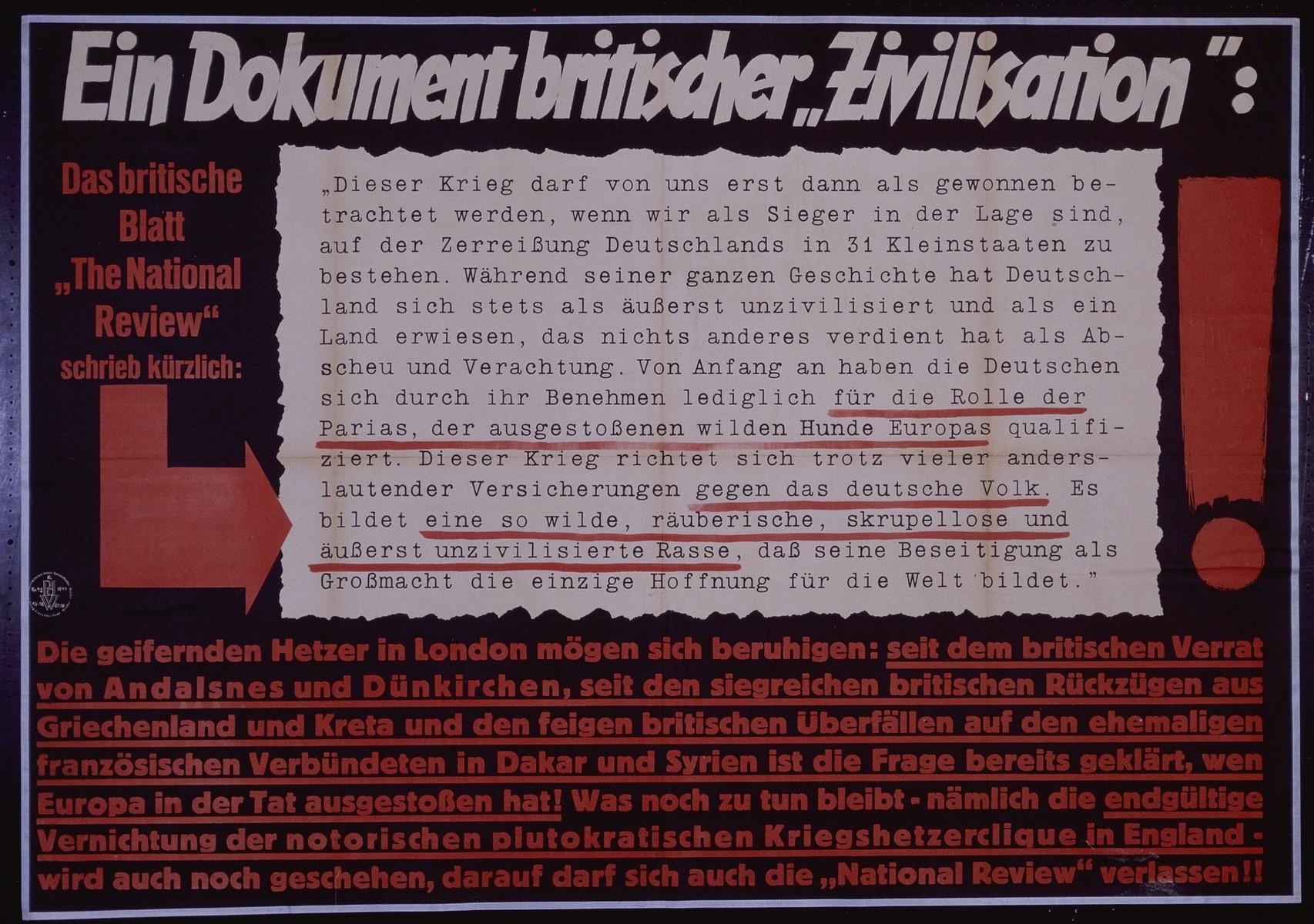 "Nazi propaganda poster entitled, ""Ein Dokument britischer 'Zivilisation',"" issued by the ""Parole der Woche,"" a wall newspaper (Wandzeitung) published by the National Socialist Party propaganda office in Munich."