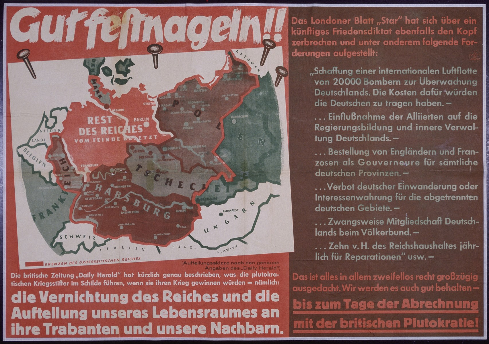 """Nazi propaganda poster entitled, """"Gut festnageln,""""  issued by the """"Parole der Woche,"""" a wall newspaper (Wandzeitung) published by the National Socialist Party propaganda office in Munich."""