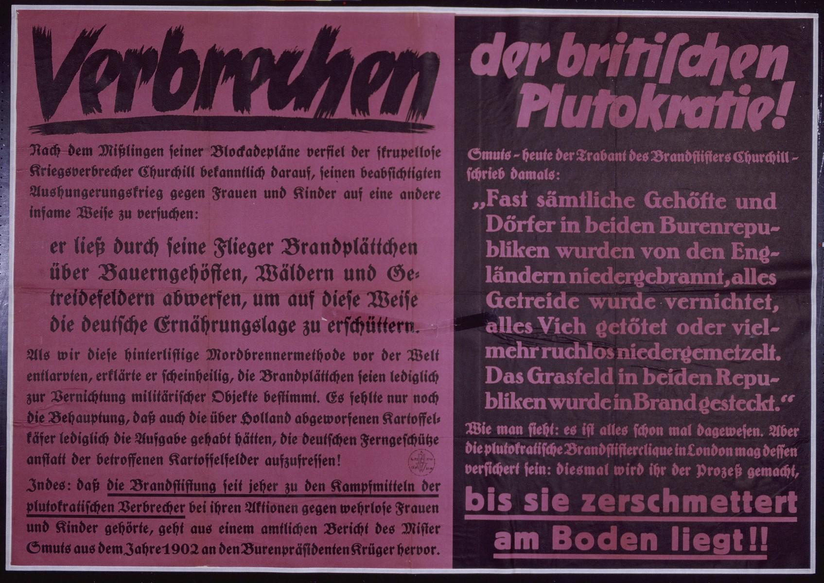 "Nazi propaganda poster entitled, ""Vebrechen der britischen Plutokratie,""  issued by the ""Parole der Woche,"" a wall newspaper (Wandzeitung) published by the National Socialist Party propaganda office in Munich."