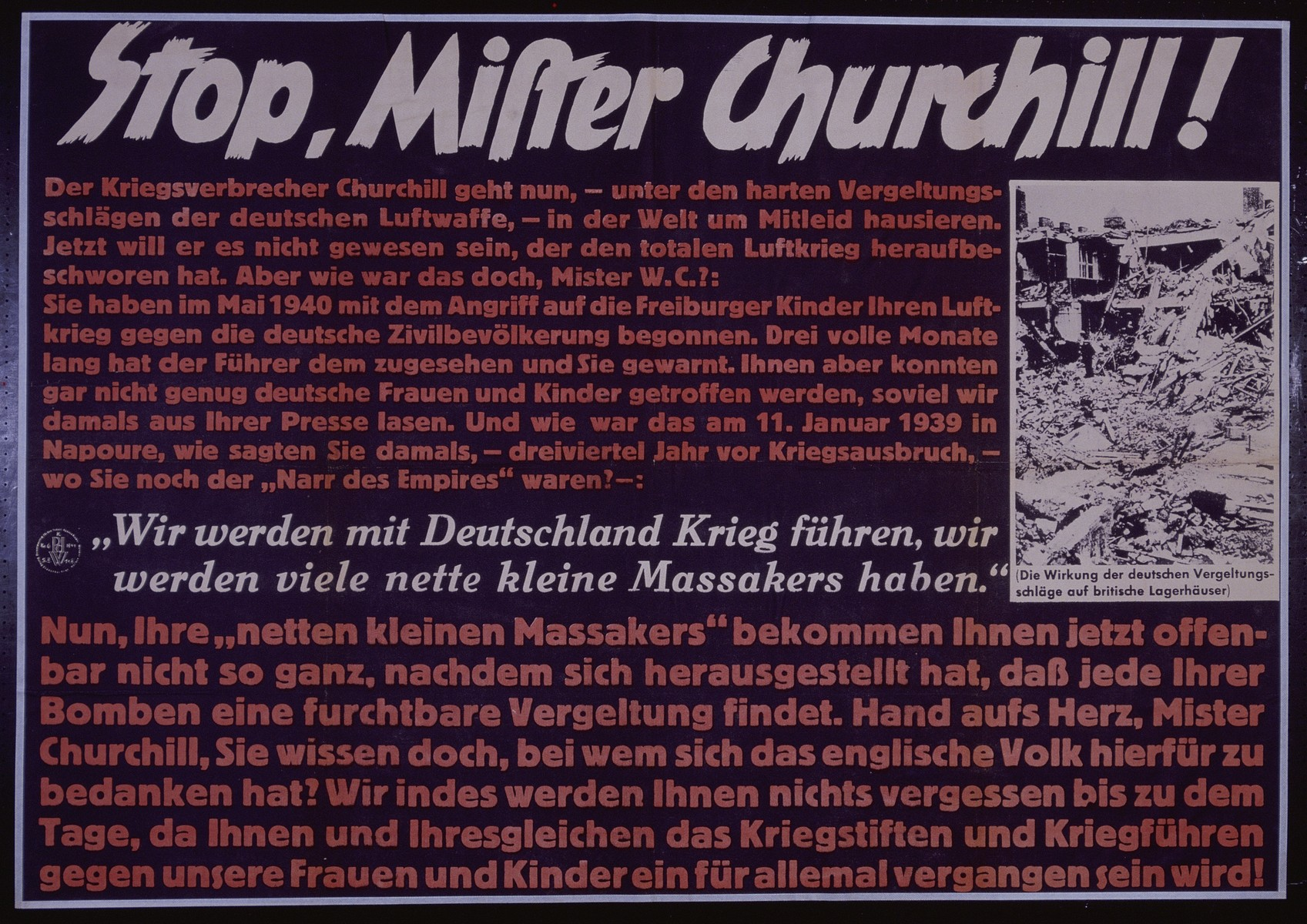 "Nazi propaganda poster entitled, ""Stop Mister Churchill,"" issued by the ""Parole der Woche,"" a wall newspaper (Wandzeitung) published by the National Socialist Party propaganda office in Munich."