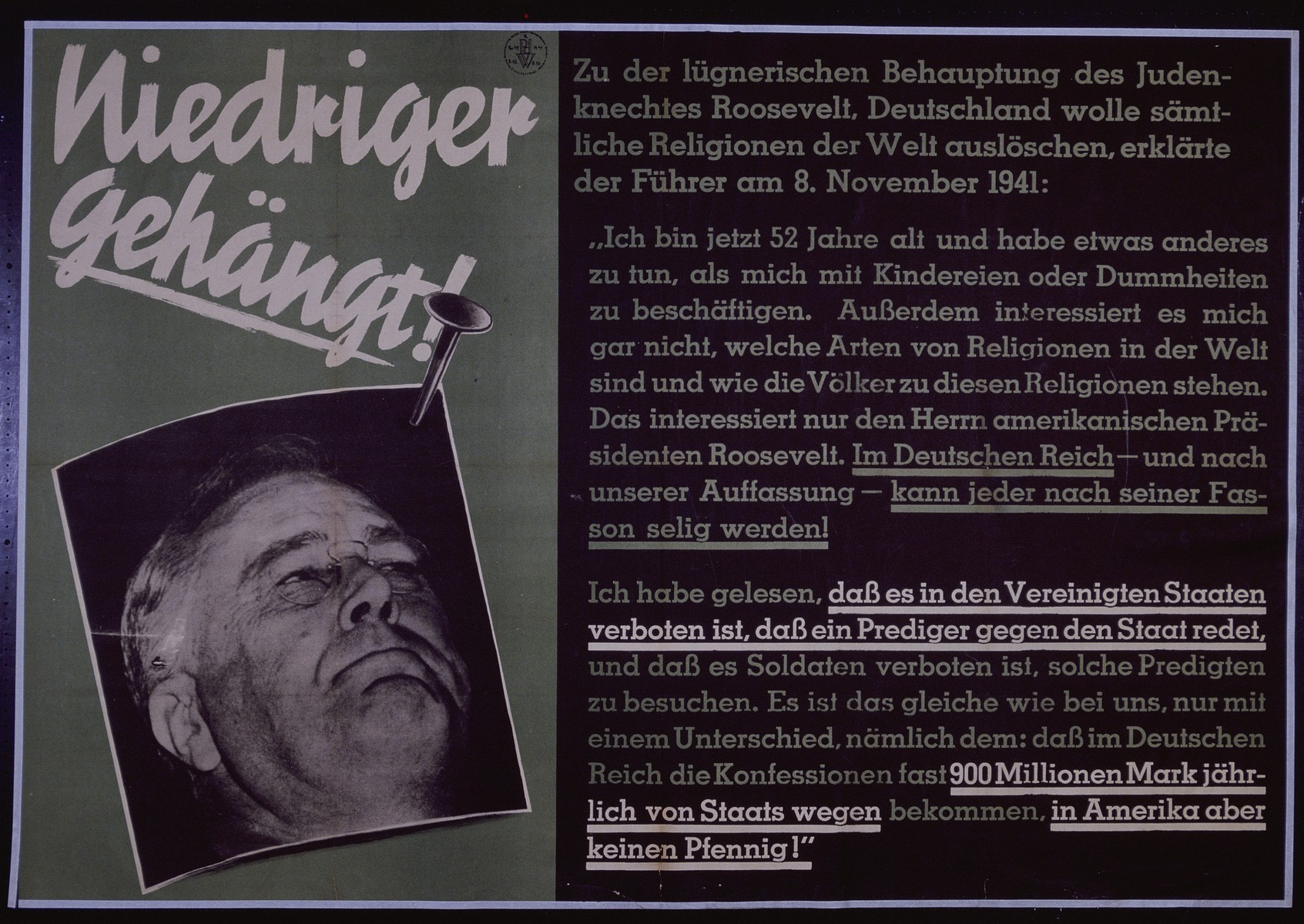 "Nazi propaganda poster entitled, ""Niedriger gehangt,"" issued by the ""Parole der Woche,"" a wall newspaper (Wandzeitung) published by the National Socialist Party propaganda office in Munich."