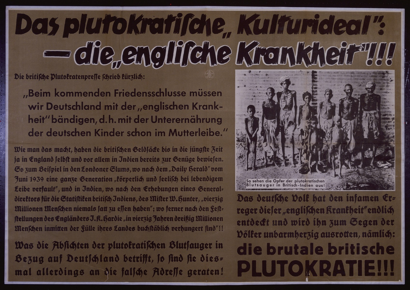 "Nazi propaganda poster entitled, ""Das plutokratische 'Kulturideal':"" issued by the ""Parole der Woche,"" a wall newspaper (Wandzeitung) published by the National Socialist Party propaganda office in Munich."