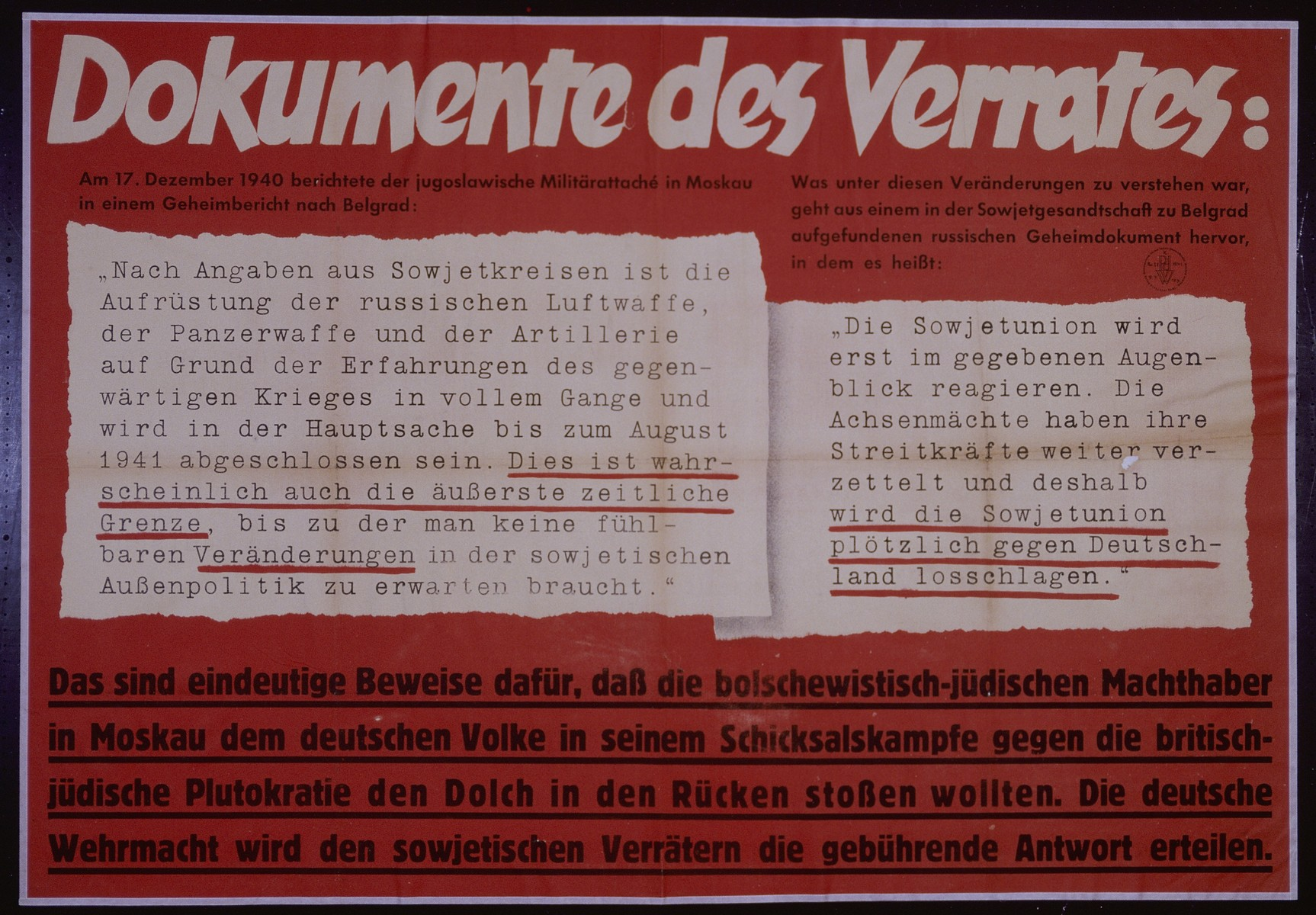 "Nazi propaganda poster entitled, ""Dokumente des Verrats,"" issued by the ""Parole der Woche,"" a wall newspaper (Wandzeitung) published by the National Socialist Party propaganda office in Munich."