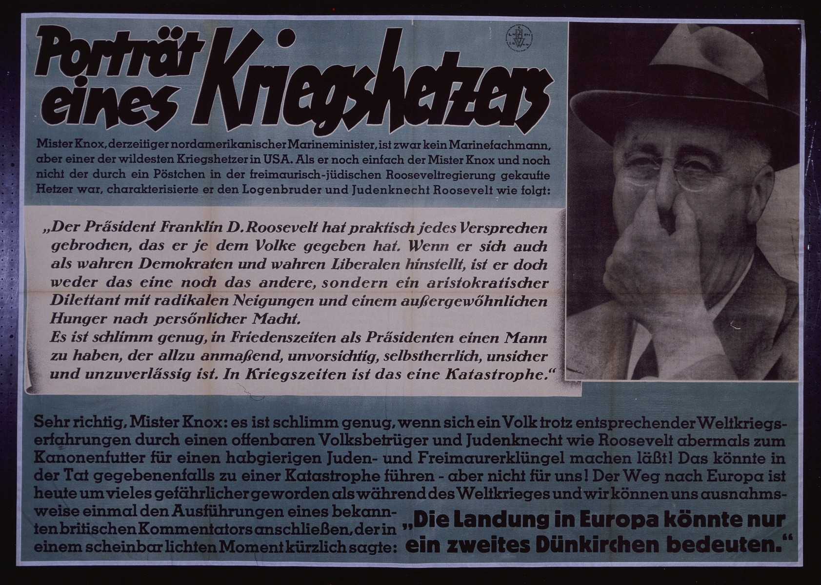 "Nazi propaganda poster entitled, ""Portrait eines Kriegshetzers,"" issued by the ""Parole der Woche,"" a wall newspaper (Wandzeitung) published by the National Socialist Party propaganda office in Munich."