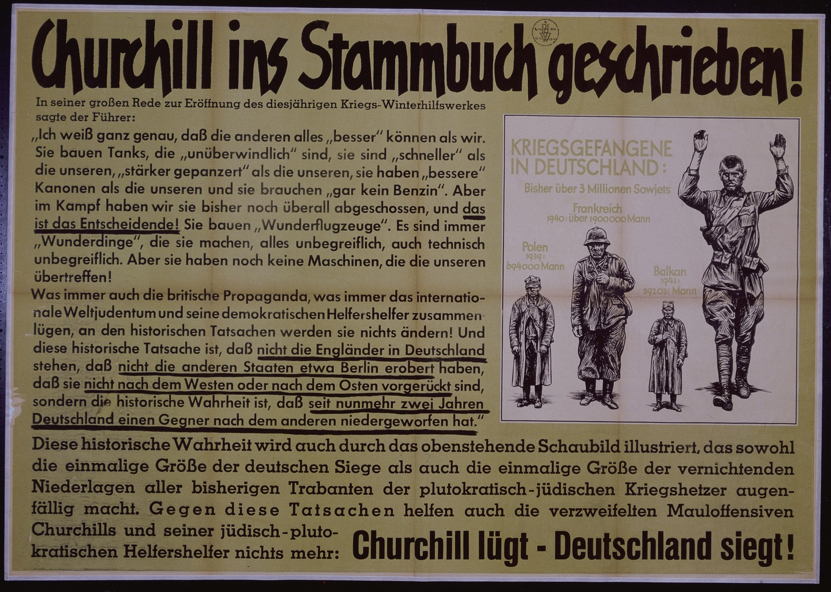 "Nazi propaganda poster entitled, ""Churchill ins Stammbuch geschrieben,"" issued by the ""Parole der Woche,"" a wall newspaper (Wandzeitung) published by the National Socialist Party propaganda office in Munich."
