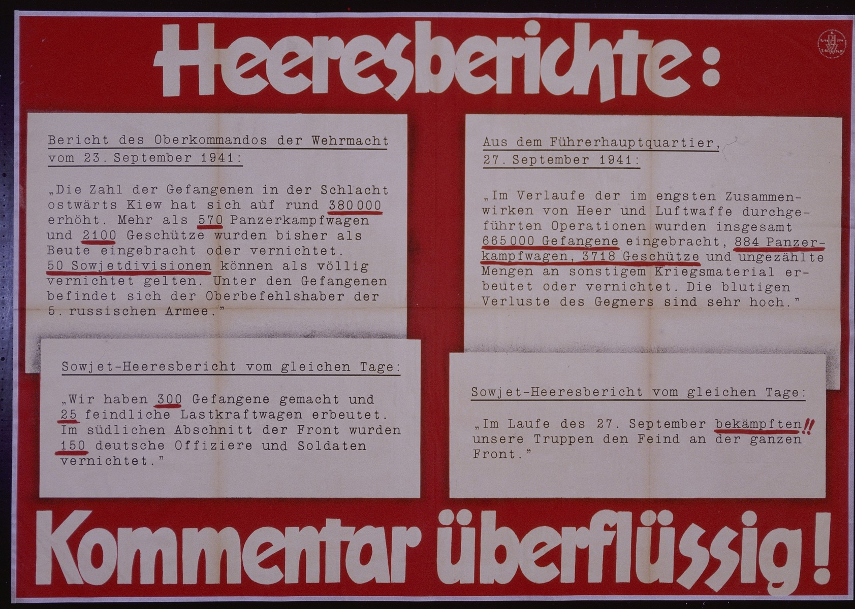 """Nazi propaganda poster entitled, """"Heeresberichte:"""" issued by the """"Parole der Woche,"""" a wall newspaper (Wandzeitung) published by the National Socialist Party propaganda office in Munich."""
