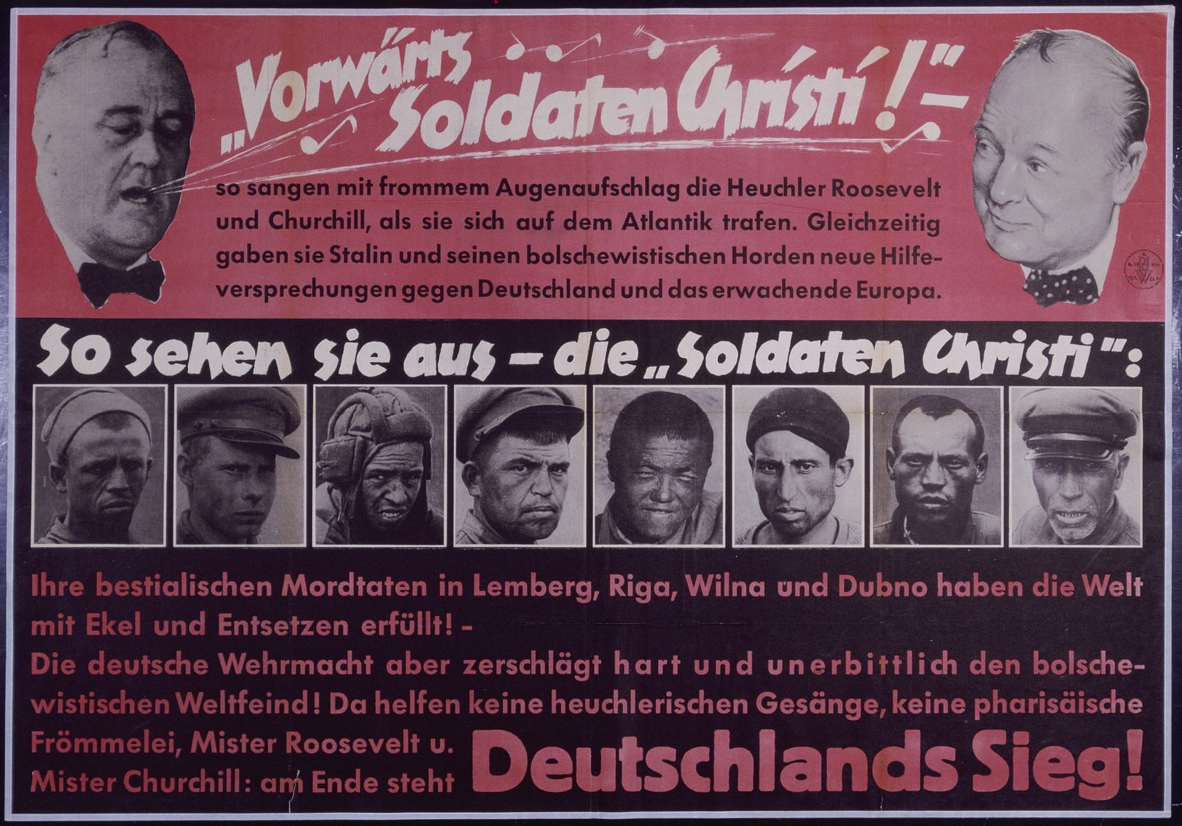 "Nazi propaganda poster entitled, ""Vorwarts Soldaten Christi,"" issued by the ""Parole der Woche,"" a wall newspaper (Wandzeitung) published by the National Socialist Party propaganda office in Munich."