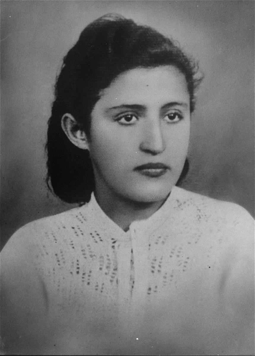 Portrait of a young Jewish woman in the Czeladz ghetto.  Pictured is Itka Bella Urman.