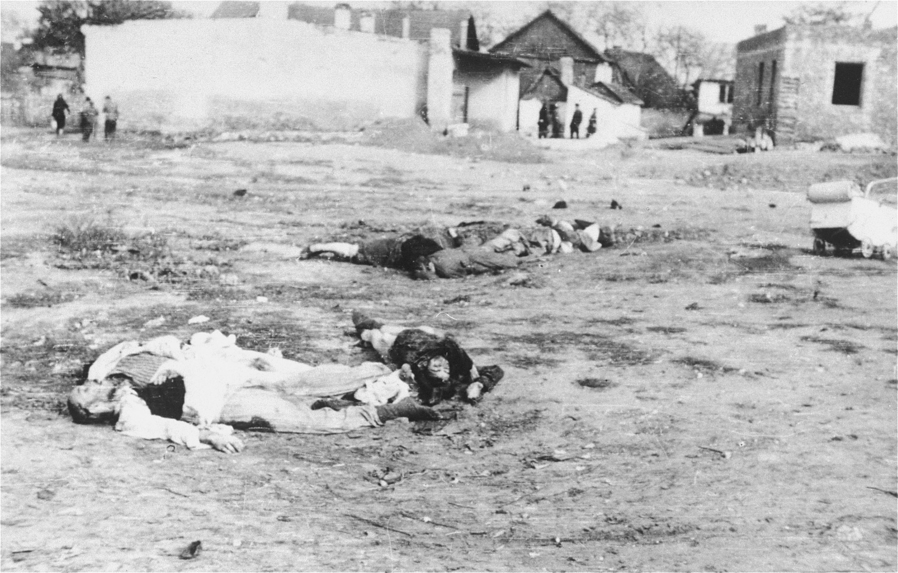The corpses of Jews lie on the ground in the Deblin-Irena ghetto.  The corpses of those who were murdered in the ghetto during the expulsion Aktion to Sobibor were transported by cart to the Jewish cemetery in Bobrowniki.  [Source: Yad Vashem research notes.]