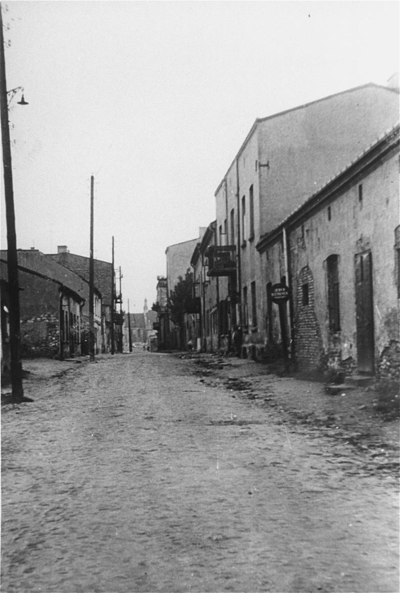"View of Senatorska Street, that was the western border of the former ""small"" ghetto in Czestochowa."