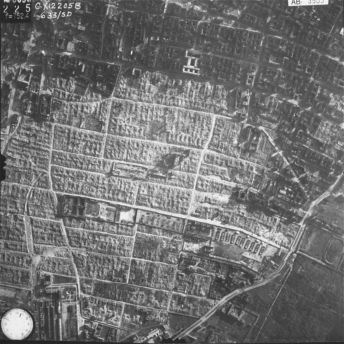 An aerial photograph showing the destruction of the Warsaw Ghetto after the uprising.