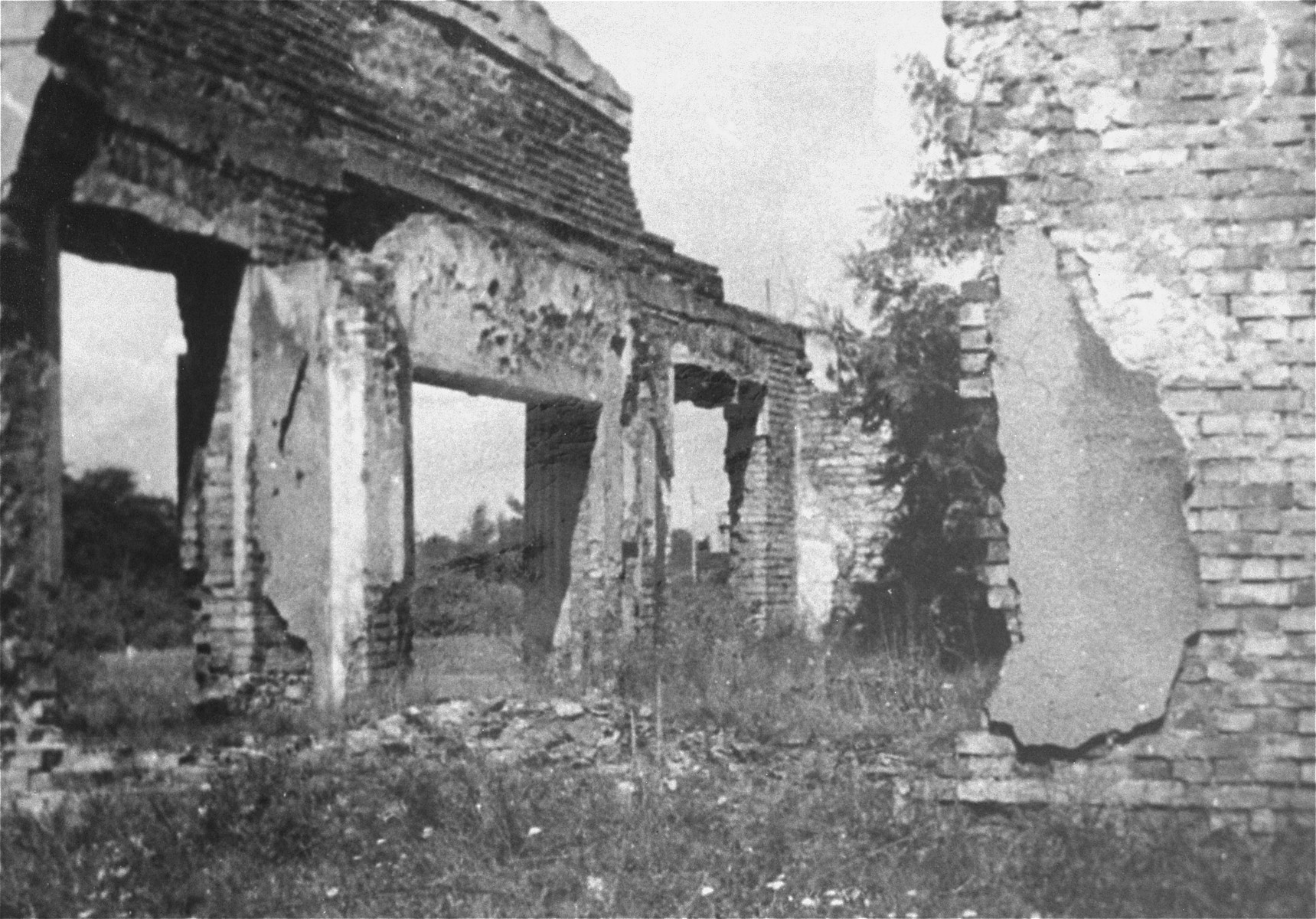Ruins of a funeral chapel in the Jewish cemetery in Czestochowa.