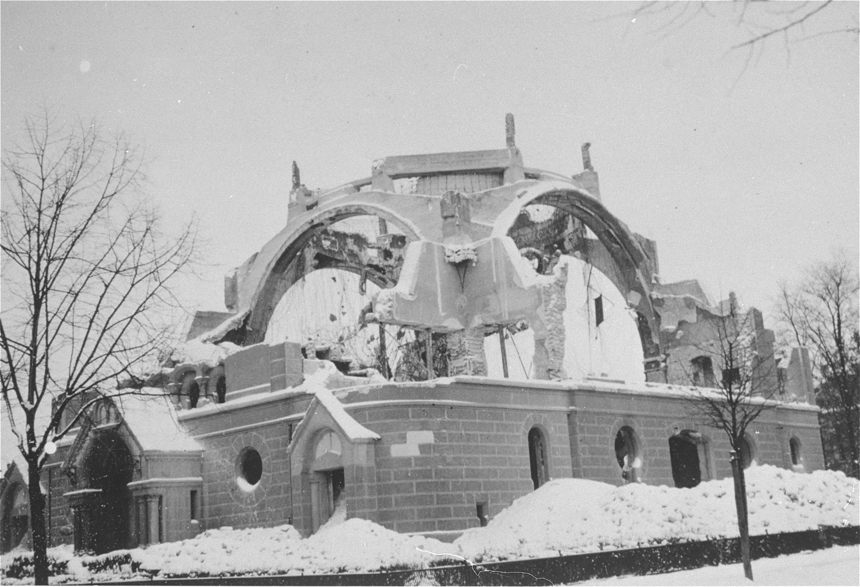 View of a destroyed synagogue in Inowroclaw, Poland.