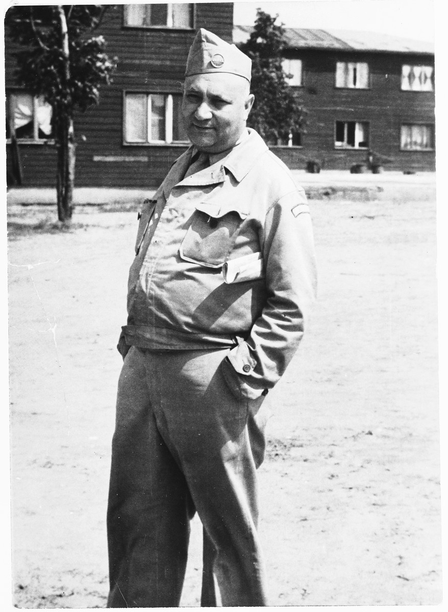 Portrait of UNRRA camp director Harold Fishbein at the Schlachtensee displaced persons camp.