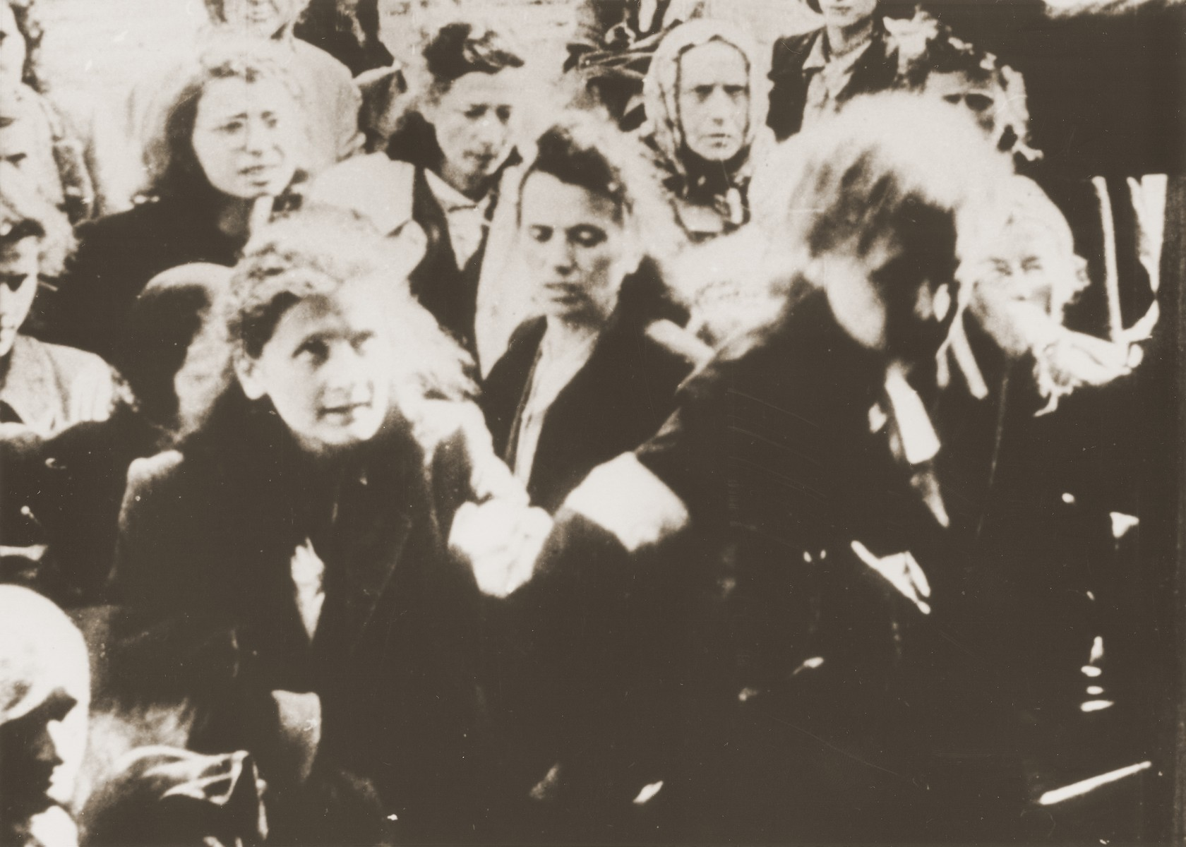 Jews on the platform during a deportation from the Warsaw ghetto.