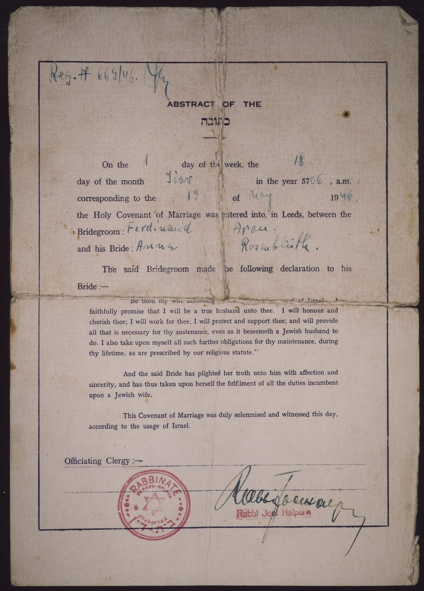English abstract of the marriage certificate [ketubah] issued in the Bergen-Belsen displaced persons camp to Ferdinand Aron and Anna Rosenblueth.  The document bears the stamp of Bergen-Belsen rabbinate.